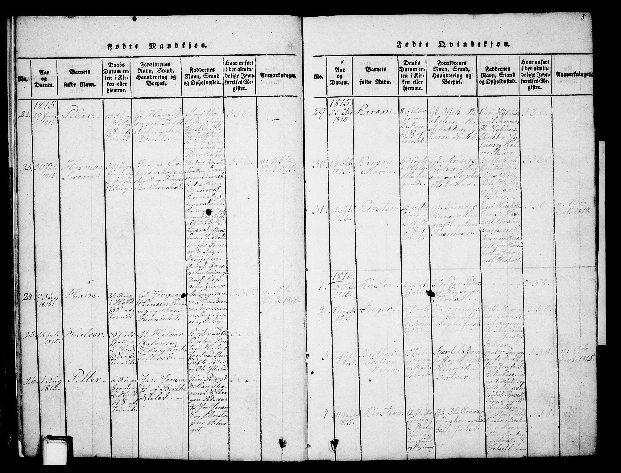 SAKO, Holla kirkebøker, G/Ga/L0001: Klokkerbok nr. I 1, 1814-1830, s. 5
