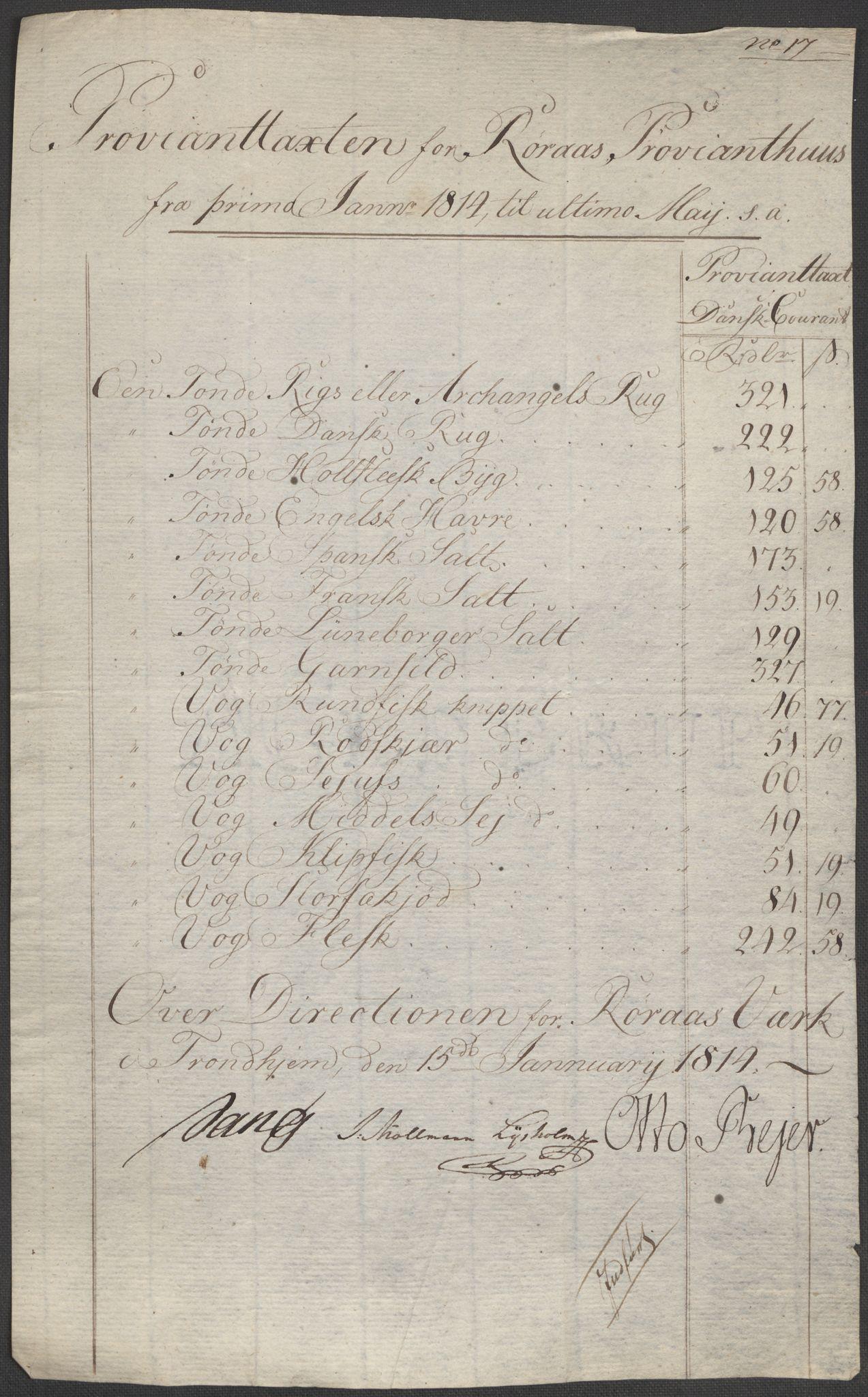 SAT, Røros kobberverk, 12/L0021: 12.20.9 Provianttakster, 1765-1824, s. 174