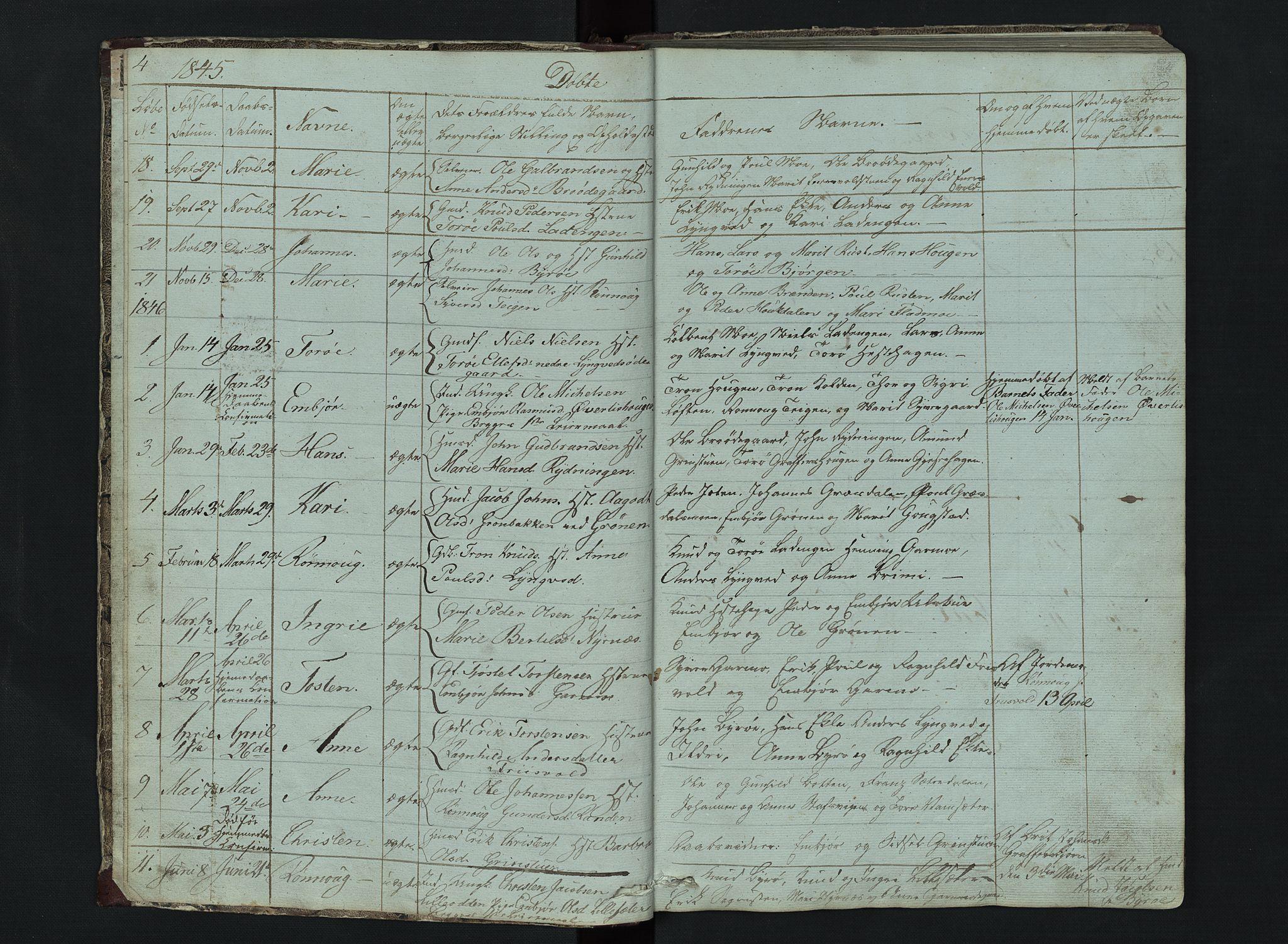 SAH, Lom prestekontor, L/L0014: Klokkerbok nr. 14, 1845-1876, s. 4-5