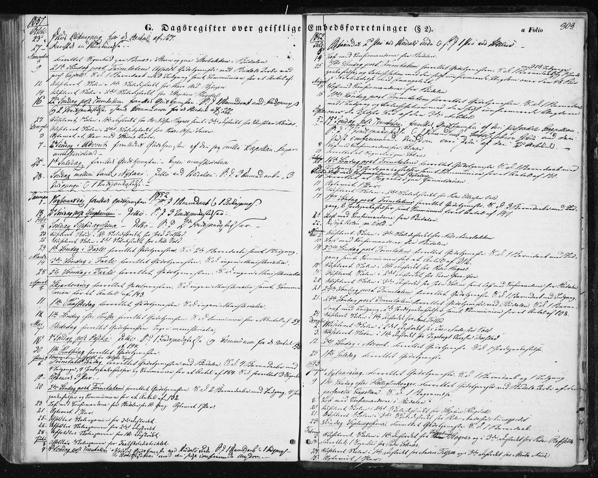 SAT, Ministerialprotokoller, klokkerbøker og fødselsregistre - Sør-Trøndelag, 687/L1000: Ministerialbok nr. 687A06, 1848-1869, s. 303
