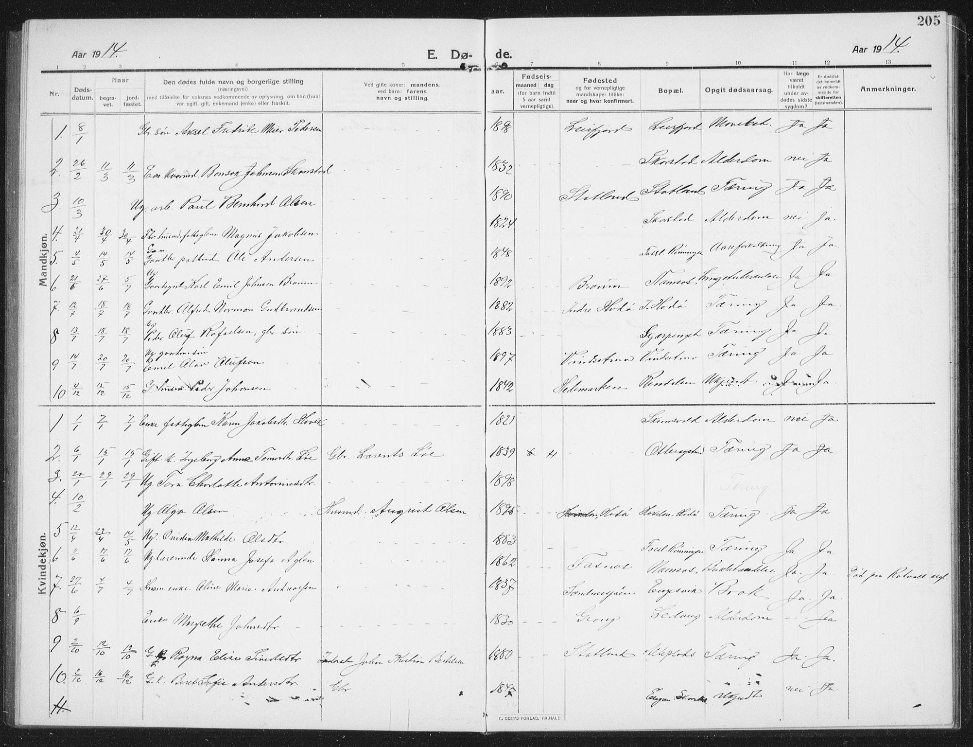 SAT, Ministerialprotokoller, klokkerbøker og fødselsregistre - Nord-Trøndelag, 774/L0630: Klokkerbok nr. 774C01, 1910-1934, s. 205