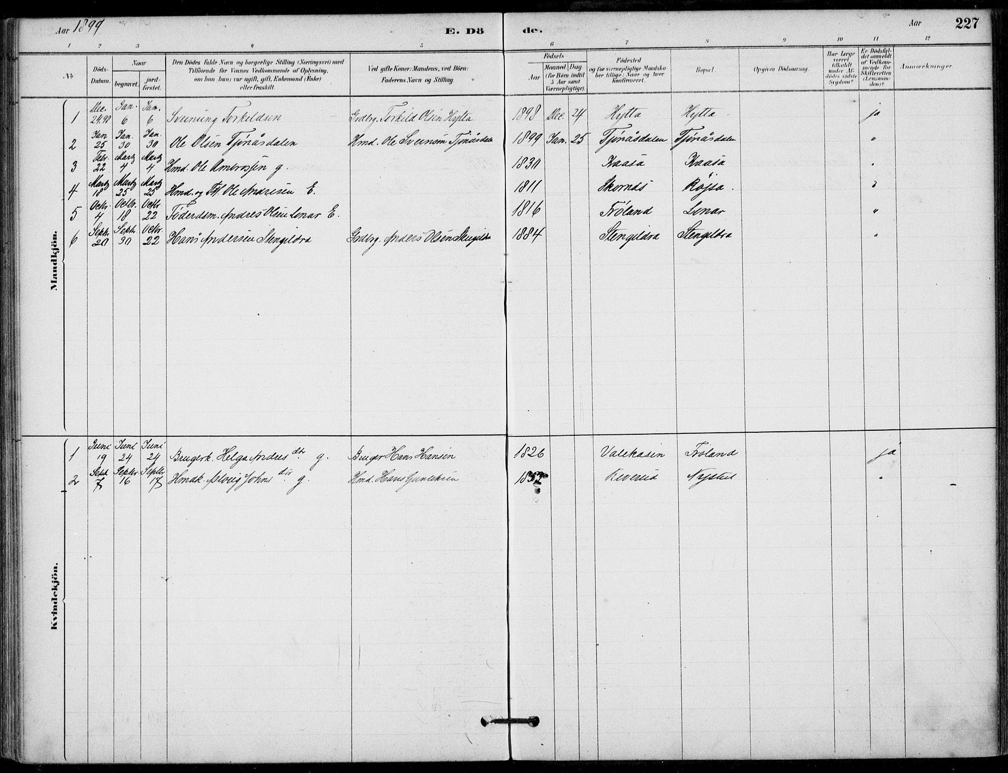 SAKO, Hjartdal kirkebøker, F/Fb/L0002: Ministerialbok nr. II 2, 1880-1932, s. 227