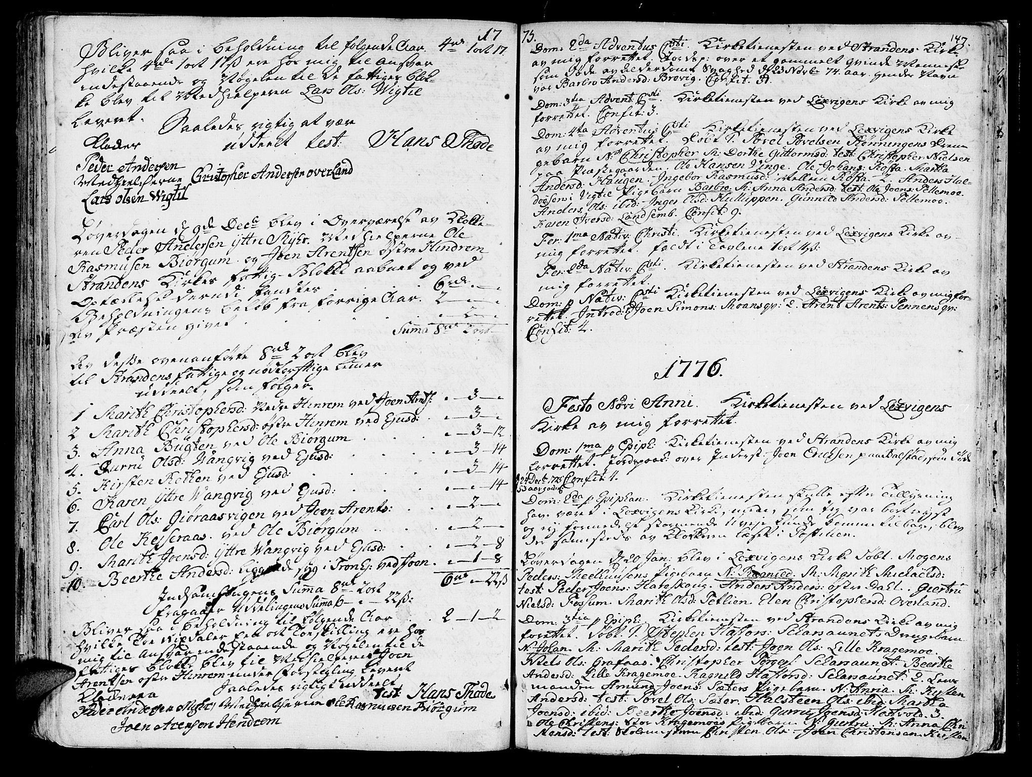 SAT, Ministerialprotokoller, klokkerbøker og fødselsregistre - Nord-Trøndelag, 701/L0003: Ministerialbok nr. 701A03, 1751-1783, s. 147
