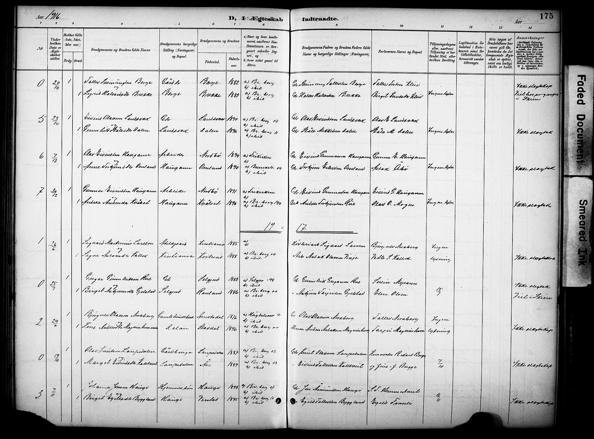 SAKO, Kviteseid kirkebøker, G/Gb/L0003: Klokkerbok nr. II 3, 1893-1933, s. 175