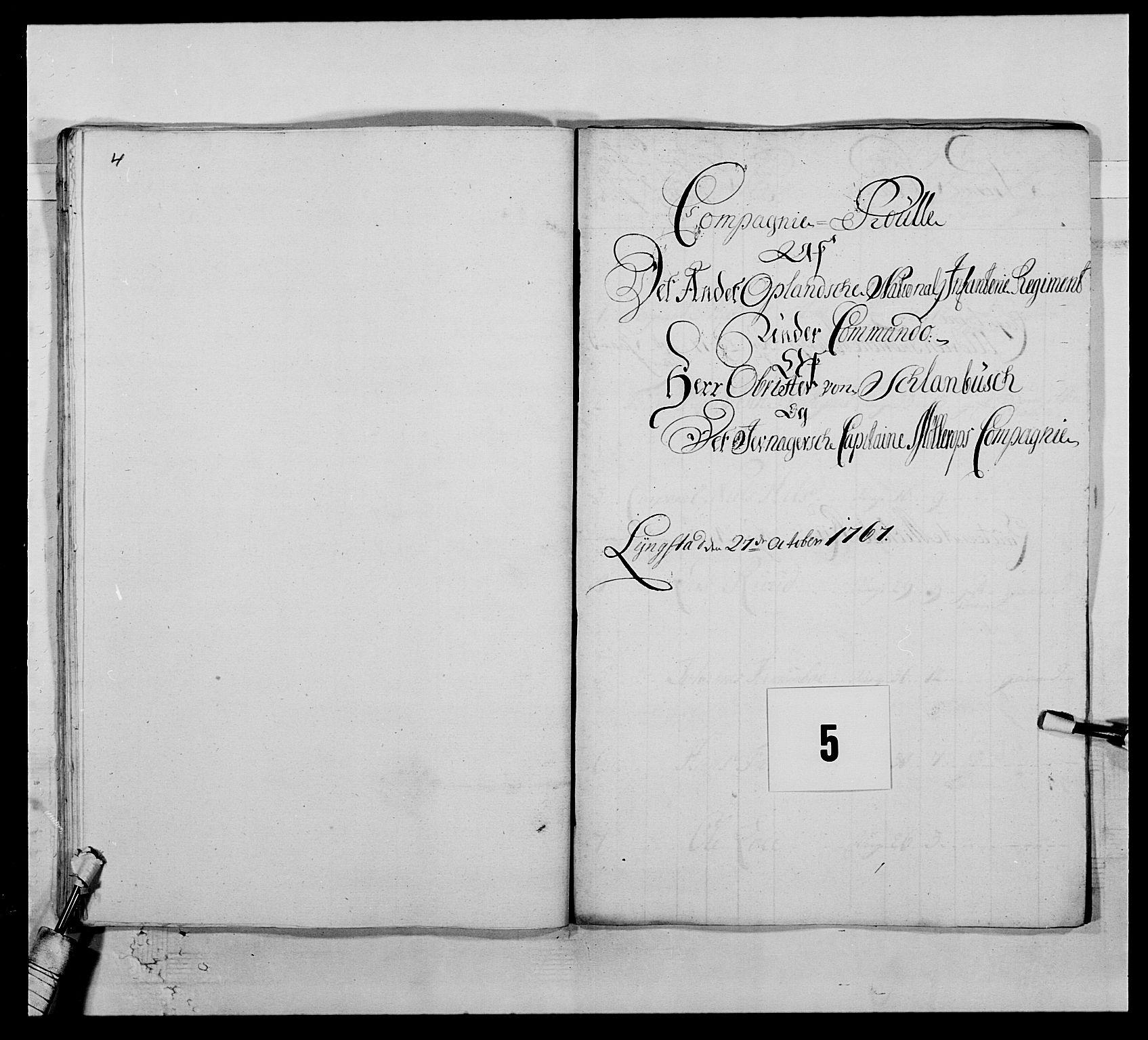 RA, Kommanderende general (KG I) med Det norske krigsdirektorium, E/Ea/L0507: 2. Opplandske regiment, 1766-1767, s. 70