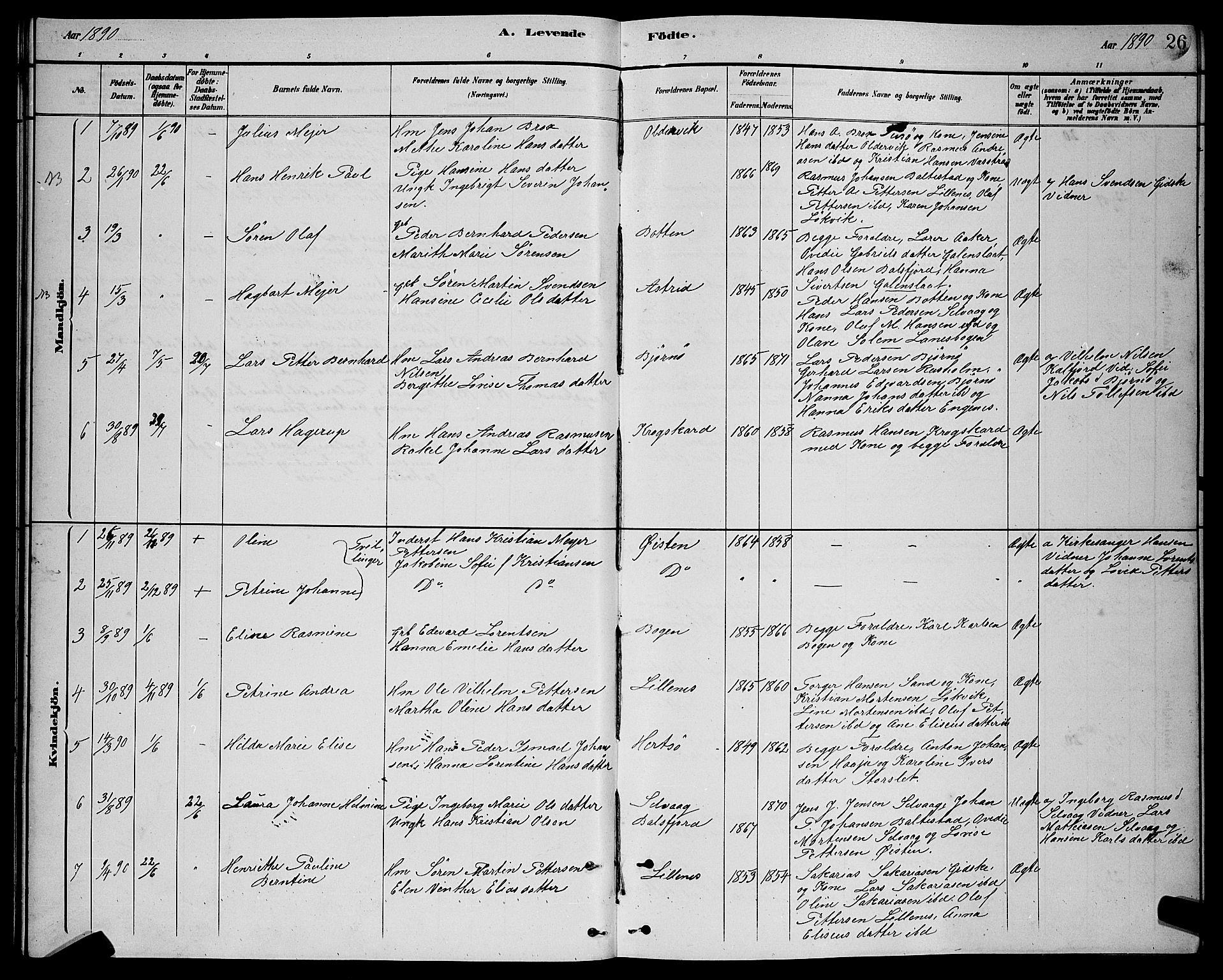 SATØ, Lenvik sokneprestembete, H/Ha: Klokkerbok nr. 21, 1884-1900, s. 26