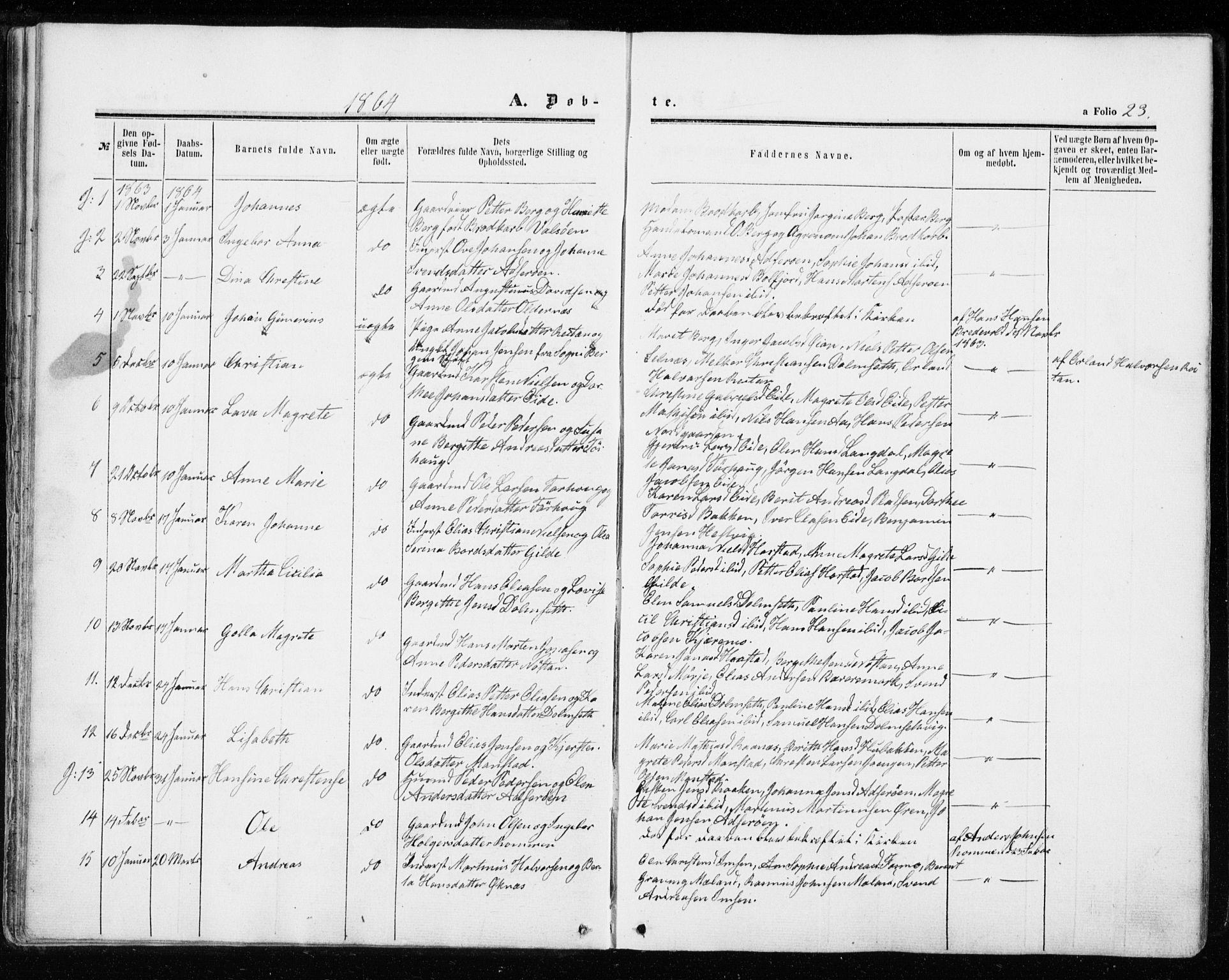 SAT, Ministerialprotokoller, klokkerbøker og fødselsregistre - Sør-Trøndelag, 655/L0678: Ministerialbok nr. 655A07, 1861-1873, s. 23