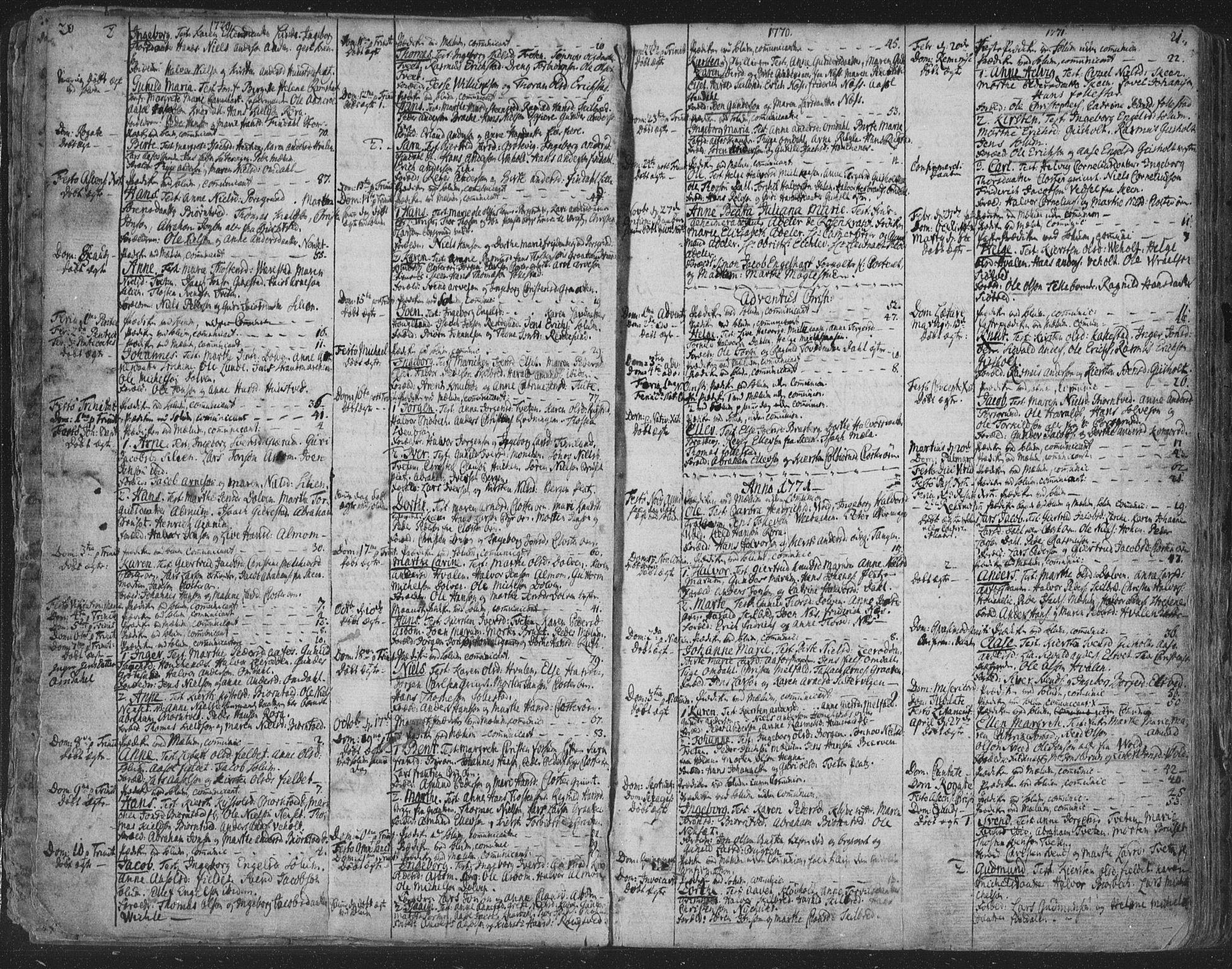 SAKO, Solum kirkebøker, F/Fa/L0003: Ministerialbok nr. I 3, 1761-1814, s. 20-21