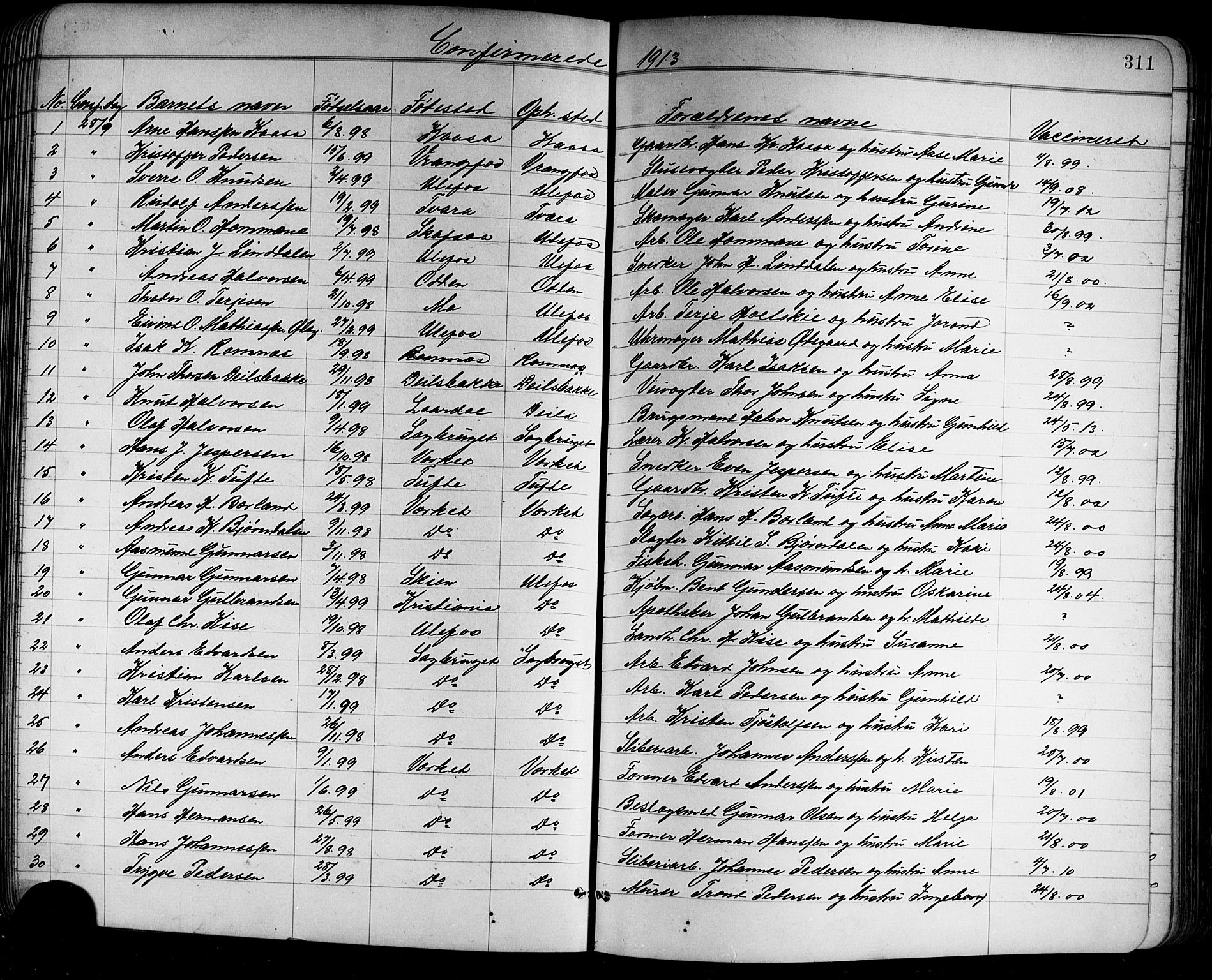 SAKO, Holla kirkebøker, G/Ga/L0005: Klokkerbok nr. I 5, 1891-1917, s. 311