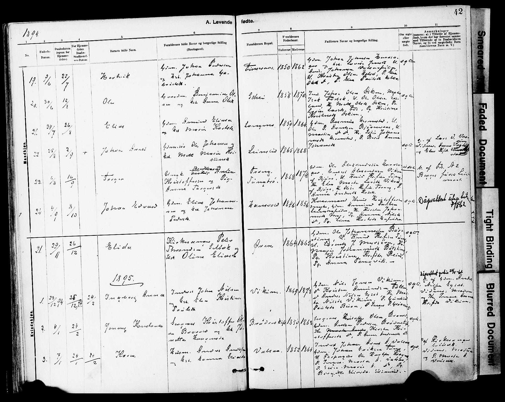 SAT, Ministerialprotokoller, klokkerbøker og fødselsregistre - Sør-Trøndelag, 646/L0615: Ministerialbok nr. 646A13, 1885-1900, s. 42