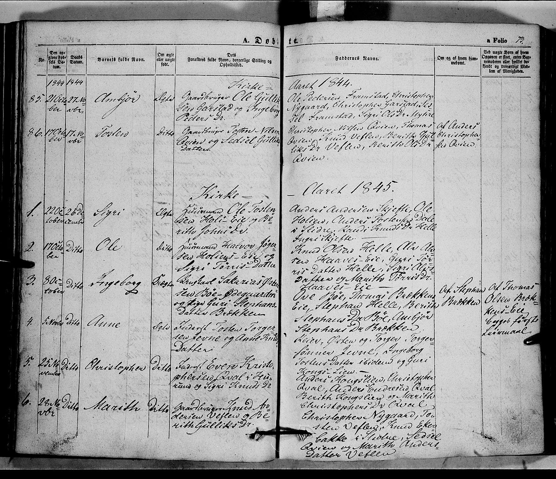 SAH, Vang prestekontor, Valdres, Ministerialbok nr. 5, 1831-1845, s. 73