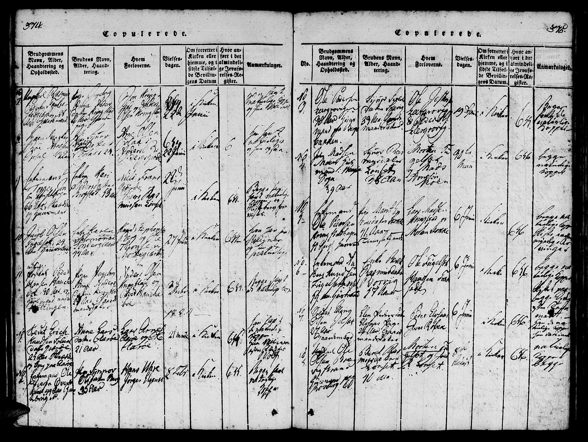 SAT, Ministerialprotokoller, klokkerbøker og fødselsregistre - Møre og Romsdal, 555/L0652: Ministerialbok nr. 555A03, 1817-1843, s. 374-375
