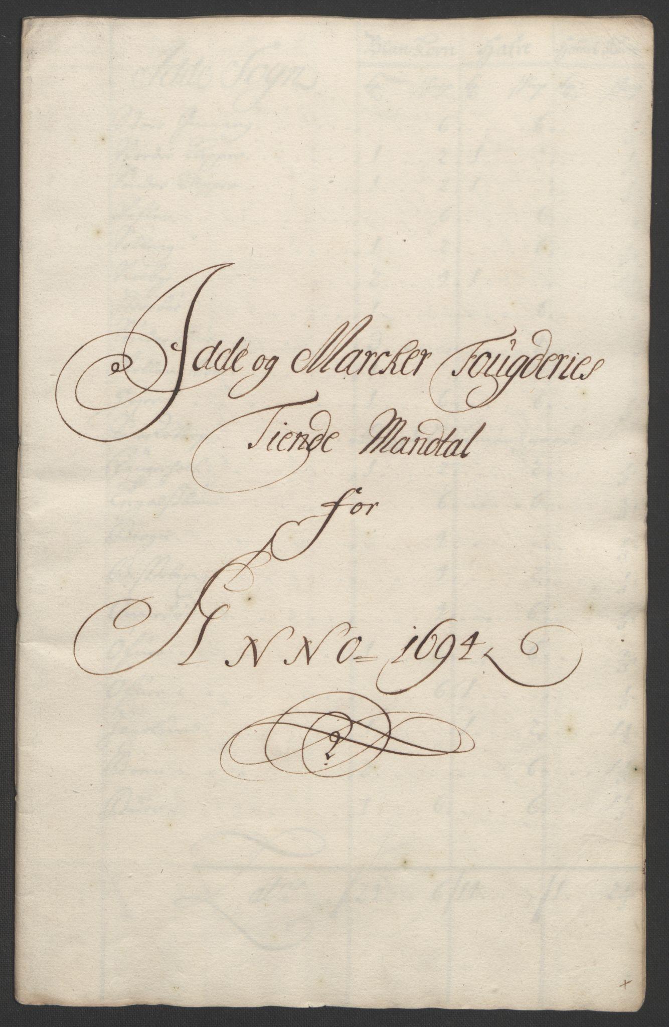RA, Rentekammeret inntil 1814, Reviderte regnskaper, Fogderegnskap, R01/L0012: Fogderegnskap Idd og Marker, 1694-1695, s. 35