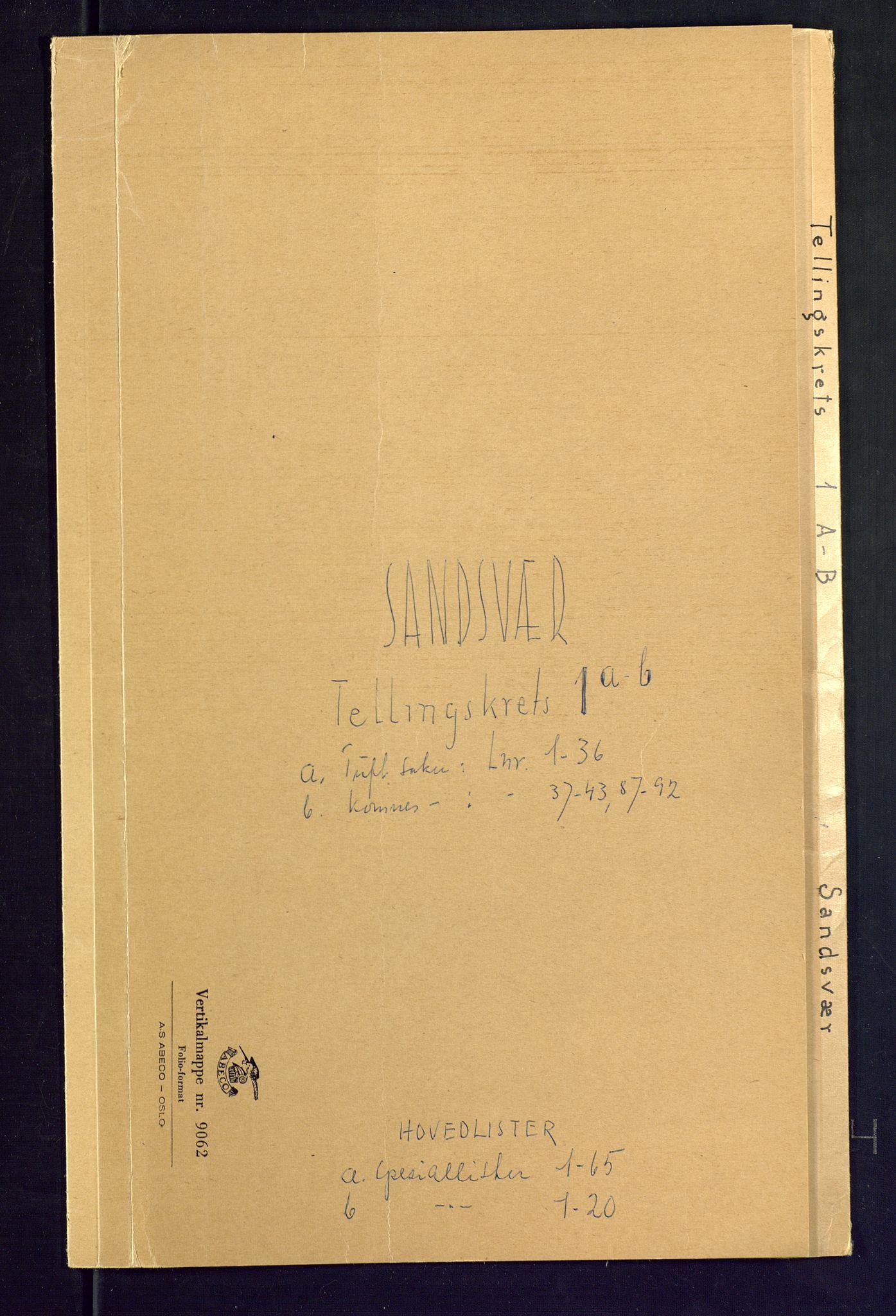 SAKO, Folketelling 1875 for 0629P Sandsvær prestegjeld, 1875, s. 1