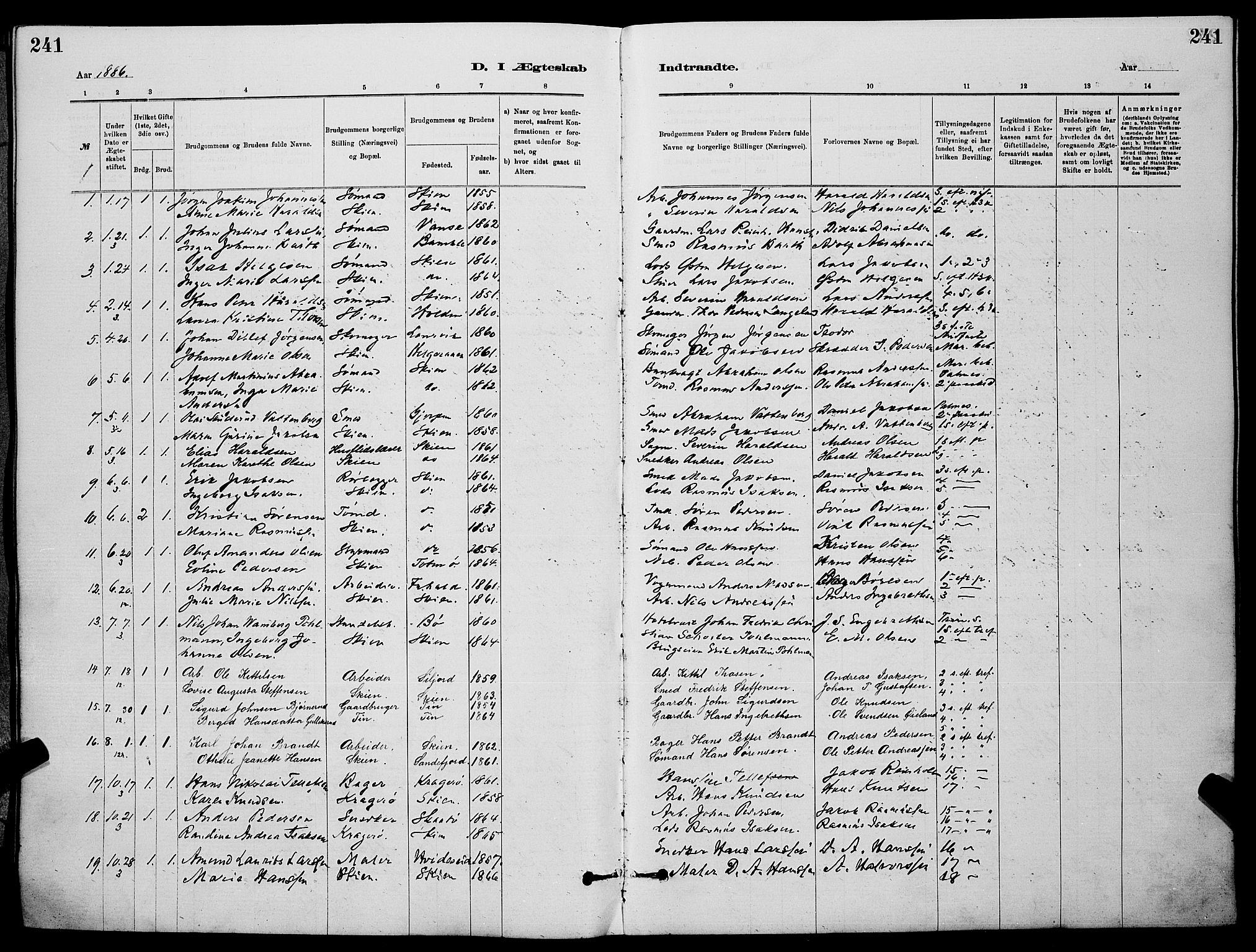 SAKO, Skien kirkebøker, G/Ga/L0006: Klokkerbok nr. 6, 1881-1890, s. 241