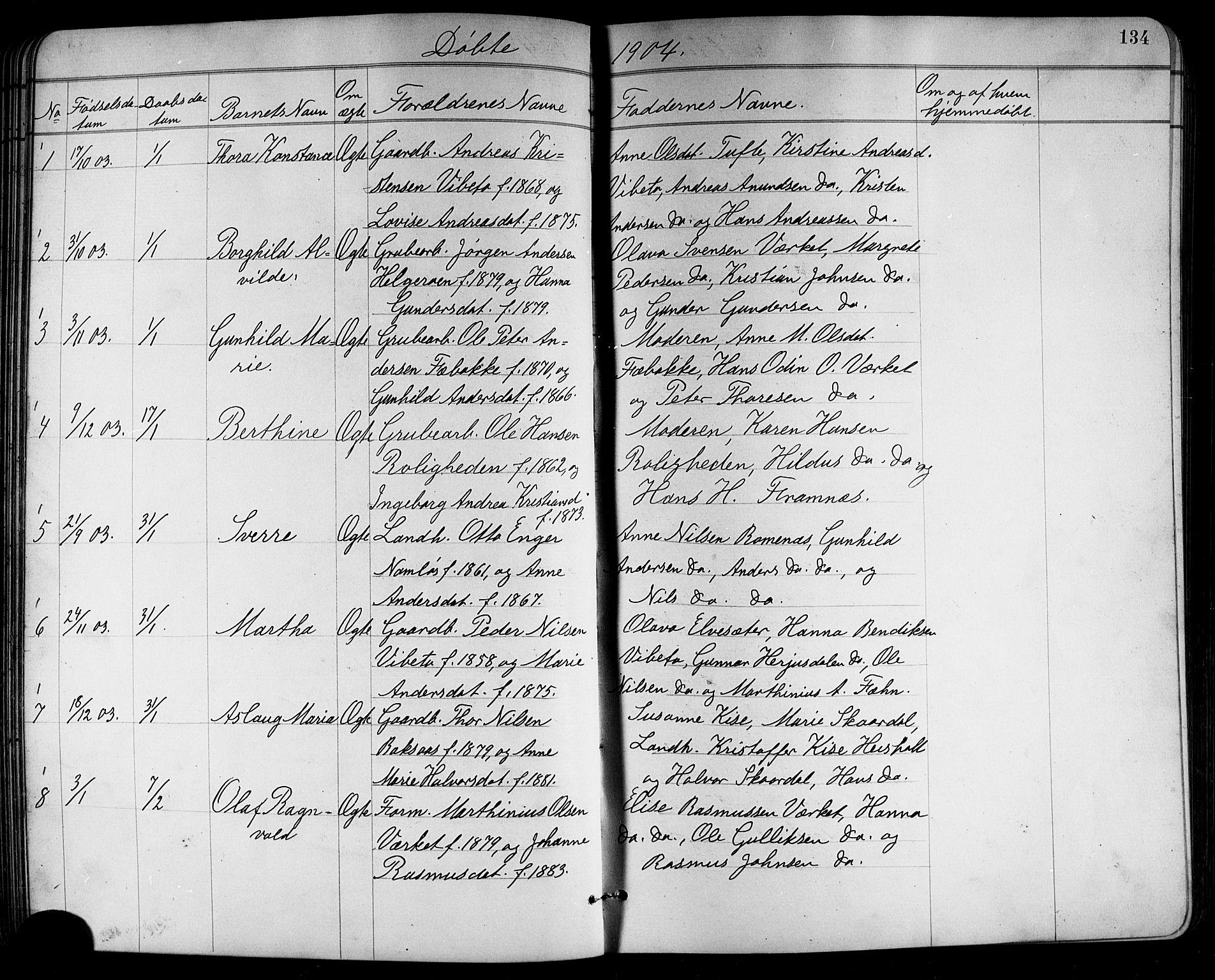 SAKO, Holla kirkebøker, G/Ga/L0005: Klokkerbok nr. I 5, 1891-1917, s. 134