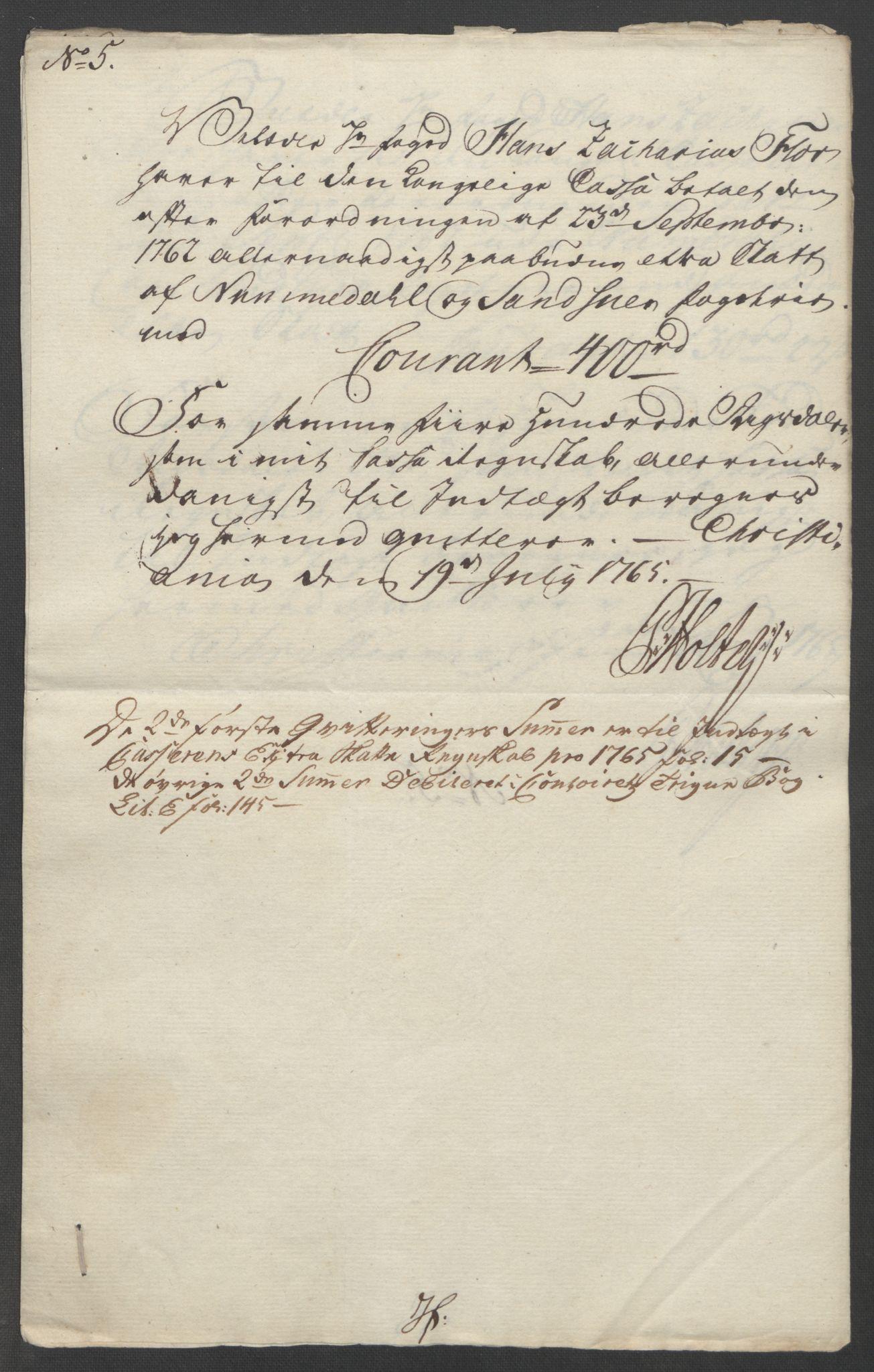 RA, Rentekammeret inntil 1814, Reviderte regnskaper, Fogderegnskap, R24/L1672: Ekstraskatten Numedal og Sandsvær, 1762-1767, s. 282