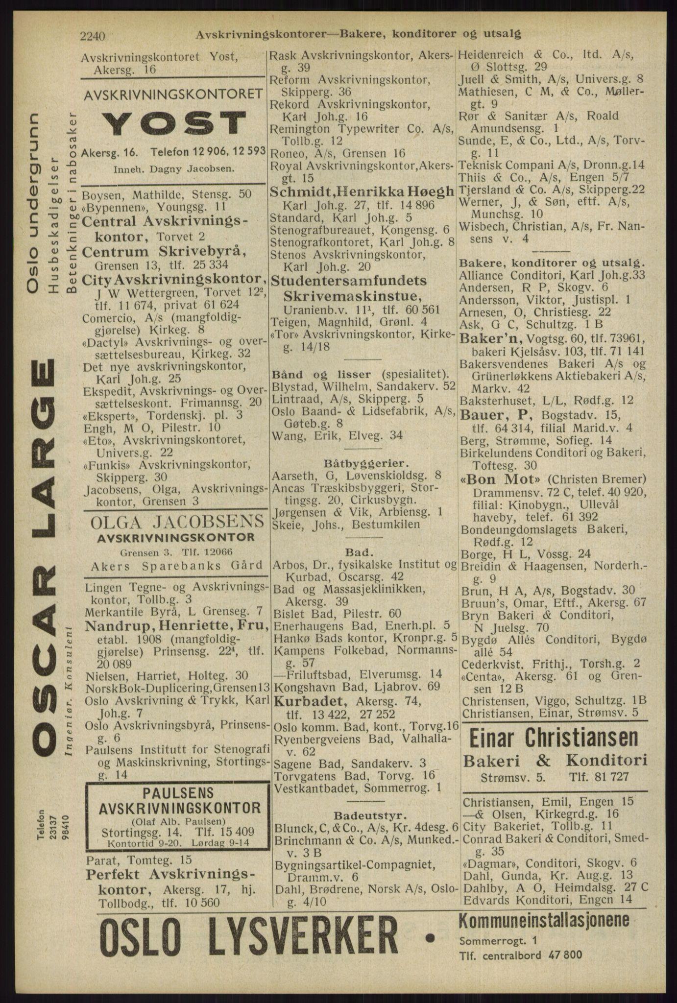 RA, Oslo adressebok (publikasjon)*, 1934, s. 2240