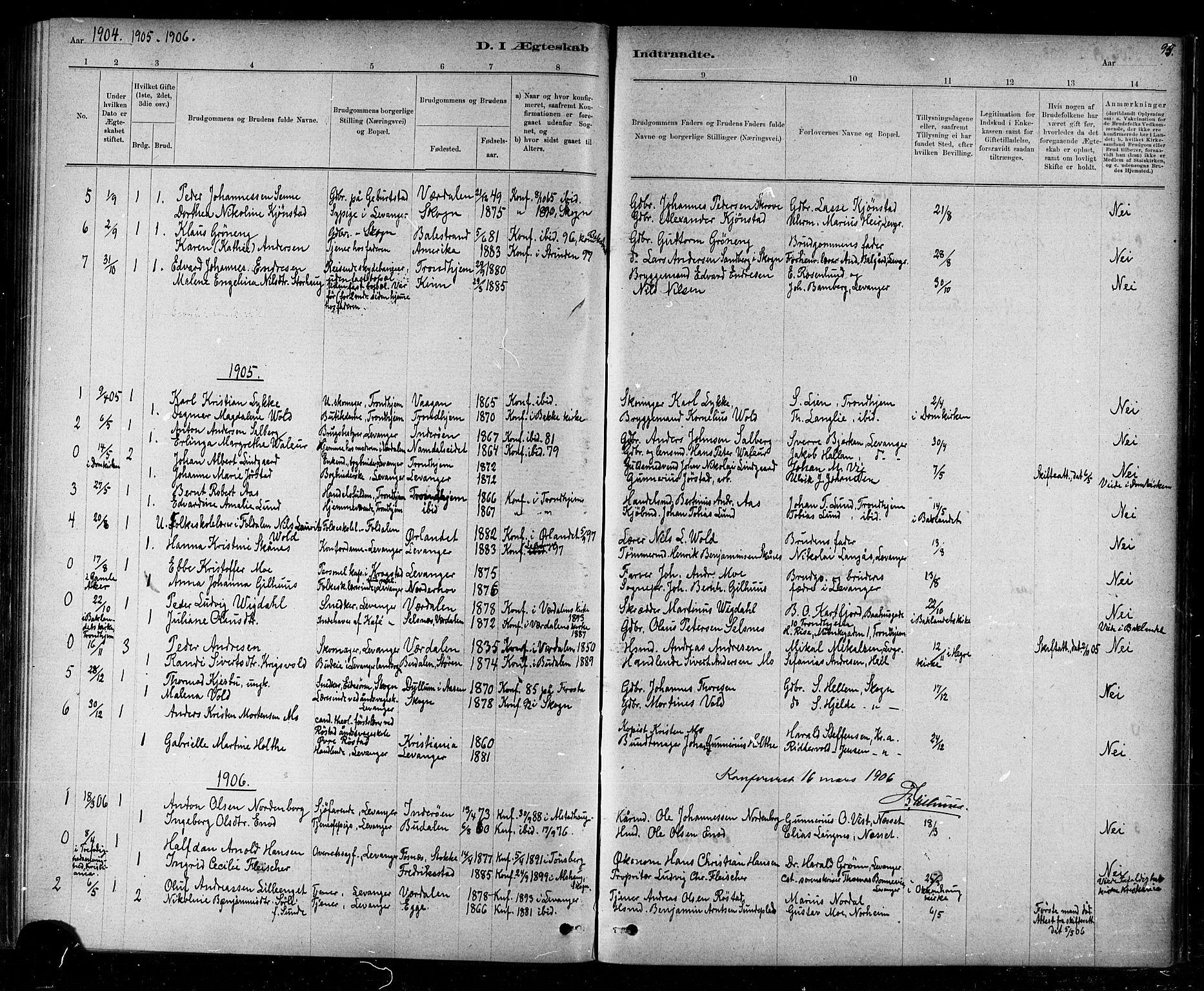 SAT, Ministerialprotokoller, klokkerbøker og fødselsregistre - Nord-Trøndelag, 720/L0192: Klokkerbok nr. 720C01, 1880-1917, s. 95