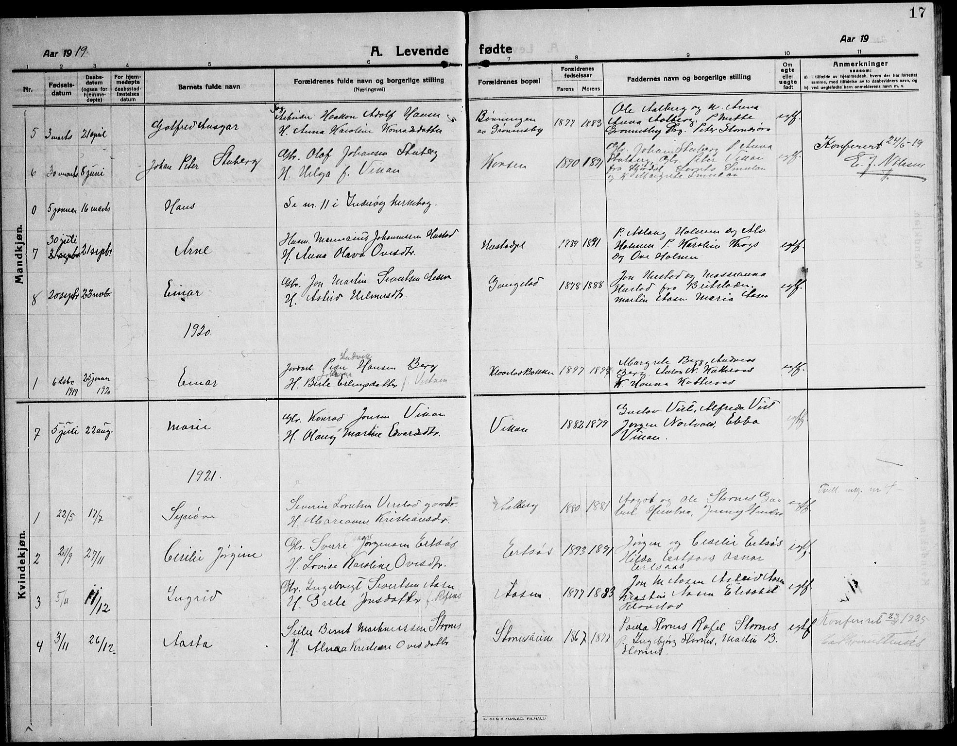 SAT, Ministerialprotokoller, klokkerbøker og fødselsregistre - Nord-Trøndelag, 732/L0319: Klokkerbok nr. 732C03, 1911-1945, s. 17