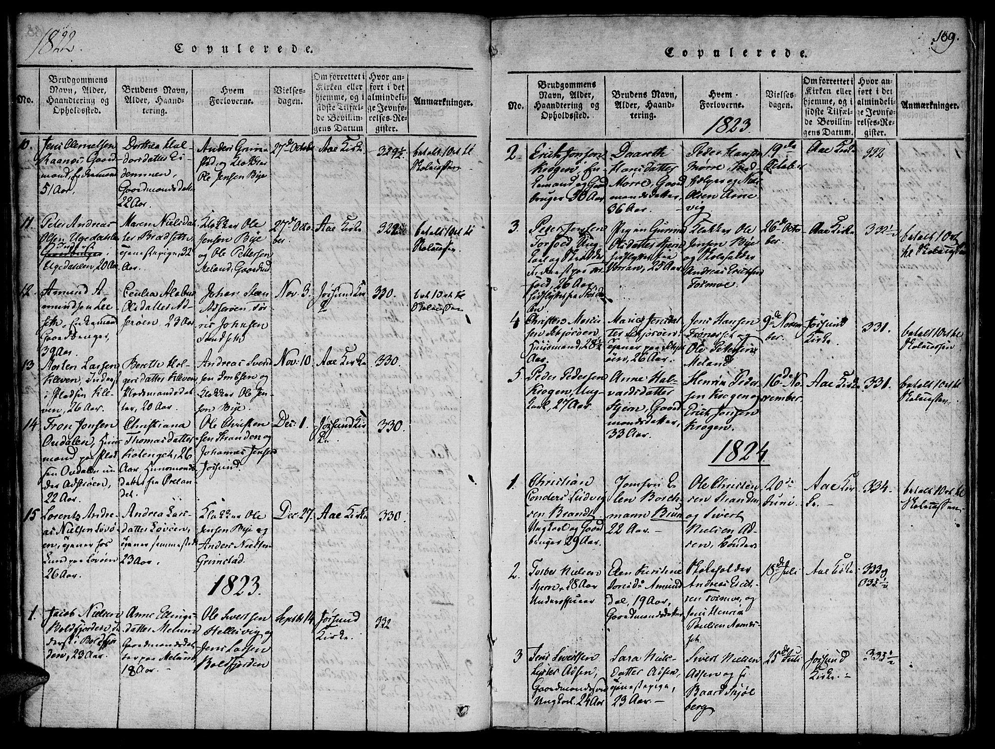 SAT, Ministerialprotokoller, klokkerbøker og fødselsregistre - Sør-Trøndelag, 655/L0675: Ministerialbok nr. 655A04, 1818-1830, s. 189