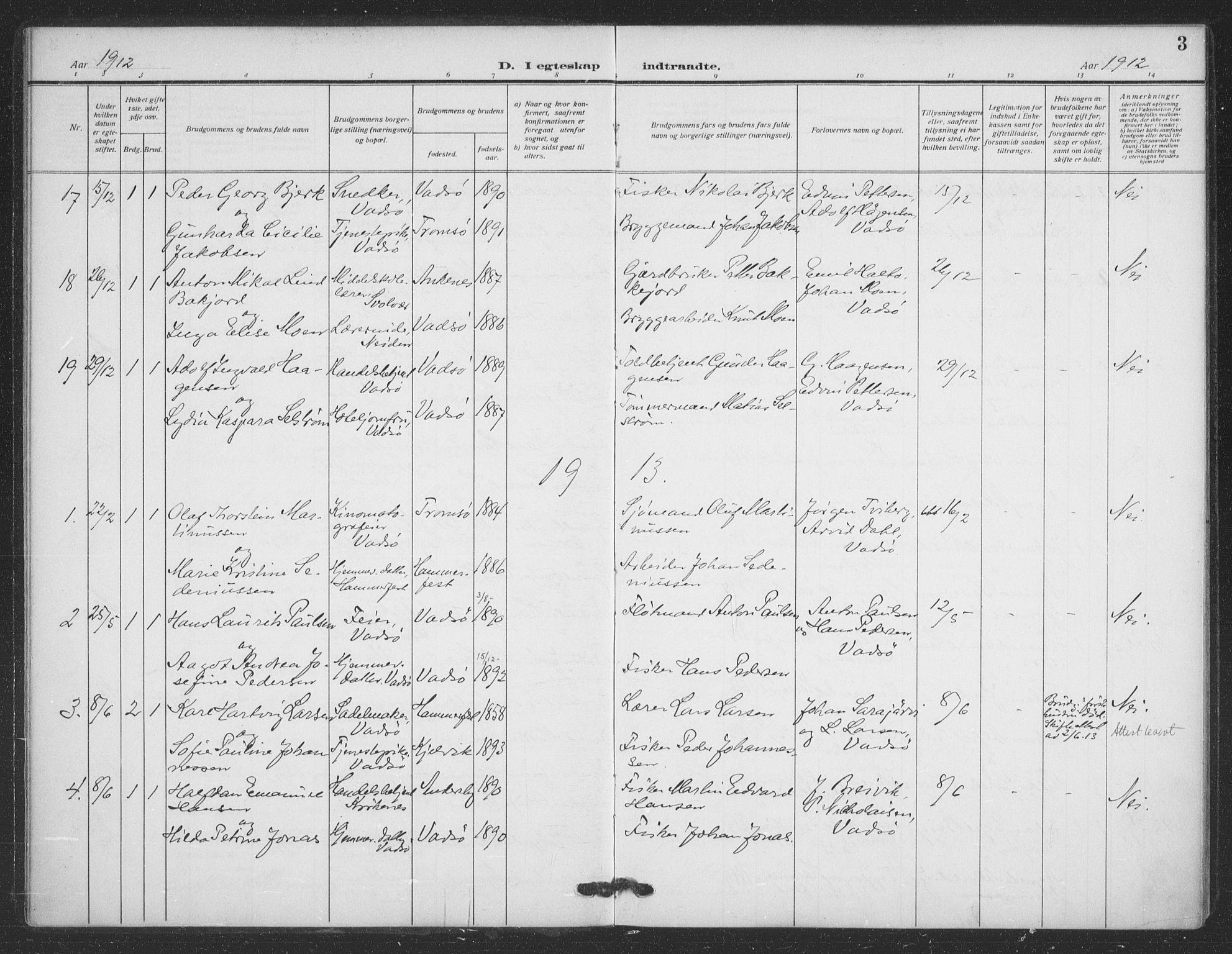 SATØ, Vadsø sokneprestkontor, H/Ha/L0008kirke: Ministerialbok nr. 8, 1912-1930, s. 3