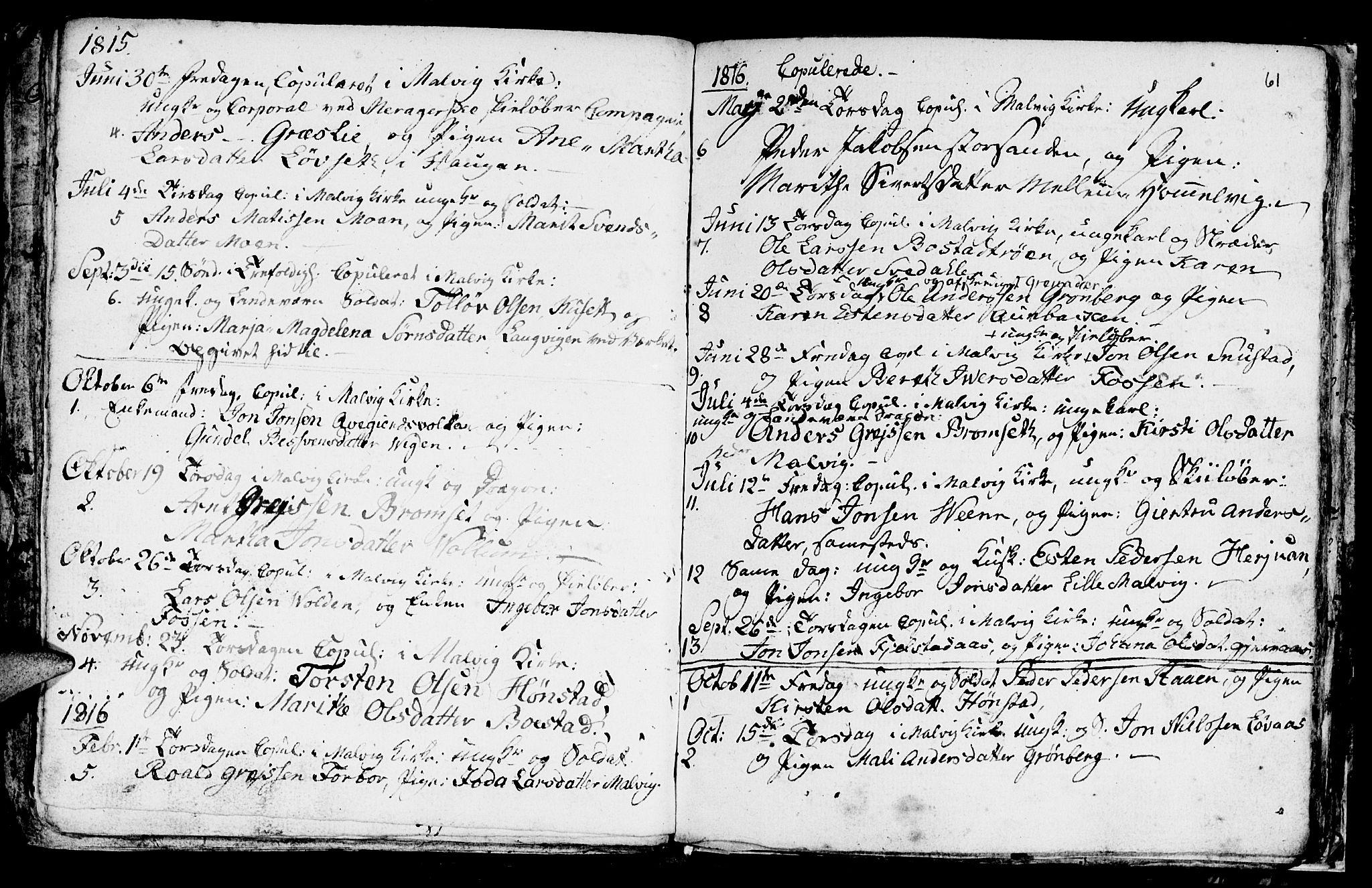 SAT, Ministerialprotokoller, klokkerbøker og fødselsregistre - Sør-Trøndelag, 616/L0419: Klokkerbok nr. 616C02, 1797-1816, s. 61
