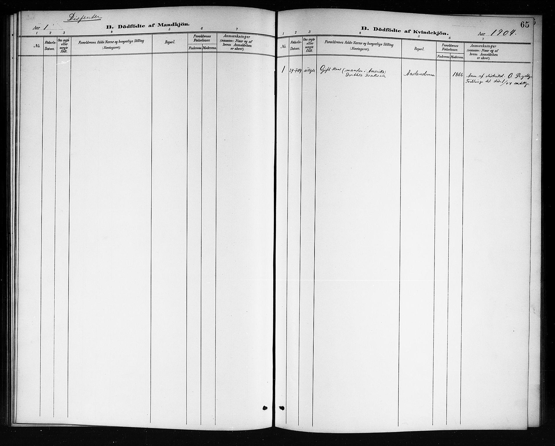 SAKO, Mo kirkebøker, G/Ga/L0002: Klokkerbok nr. I 2, 1892-1914, s. 65