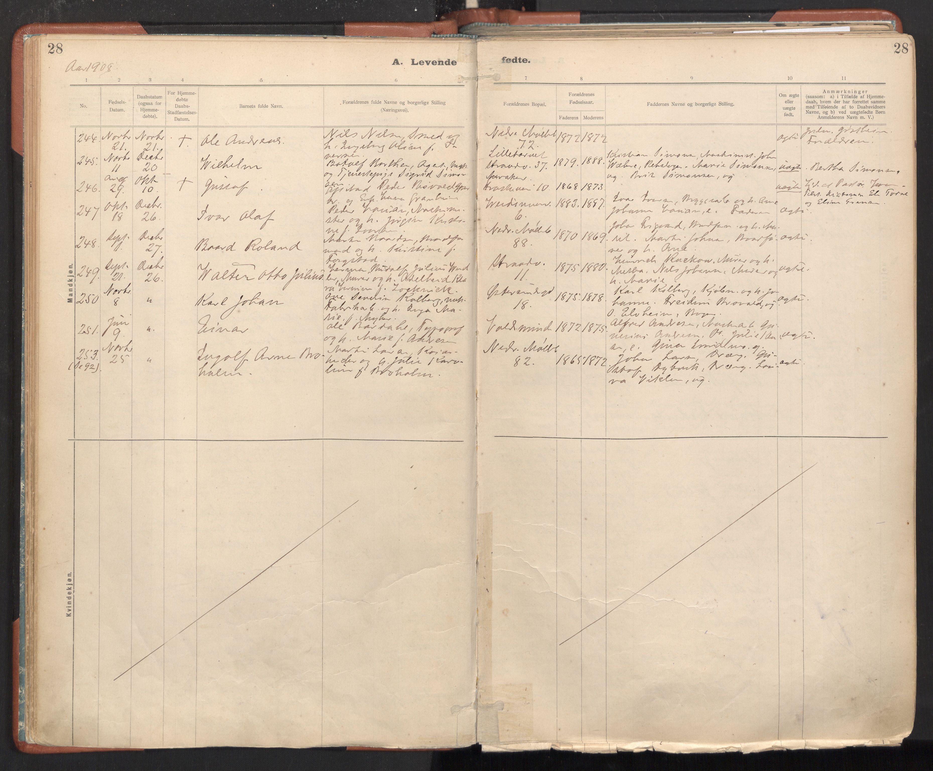 SAT, Ministerialprotokoller, klokkerbøker og fødselsregistre - Sør-Trøndelag, 605/L0243: Ministerialbok nr. 605A05, 1908-1923, s. 28