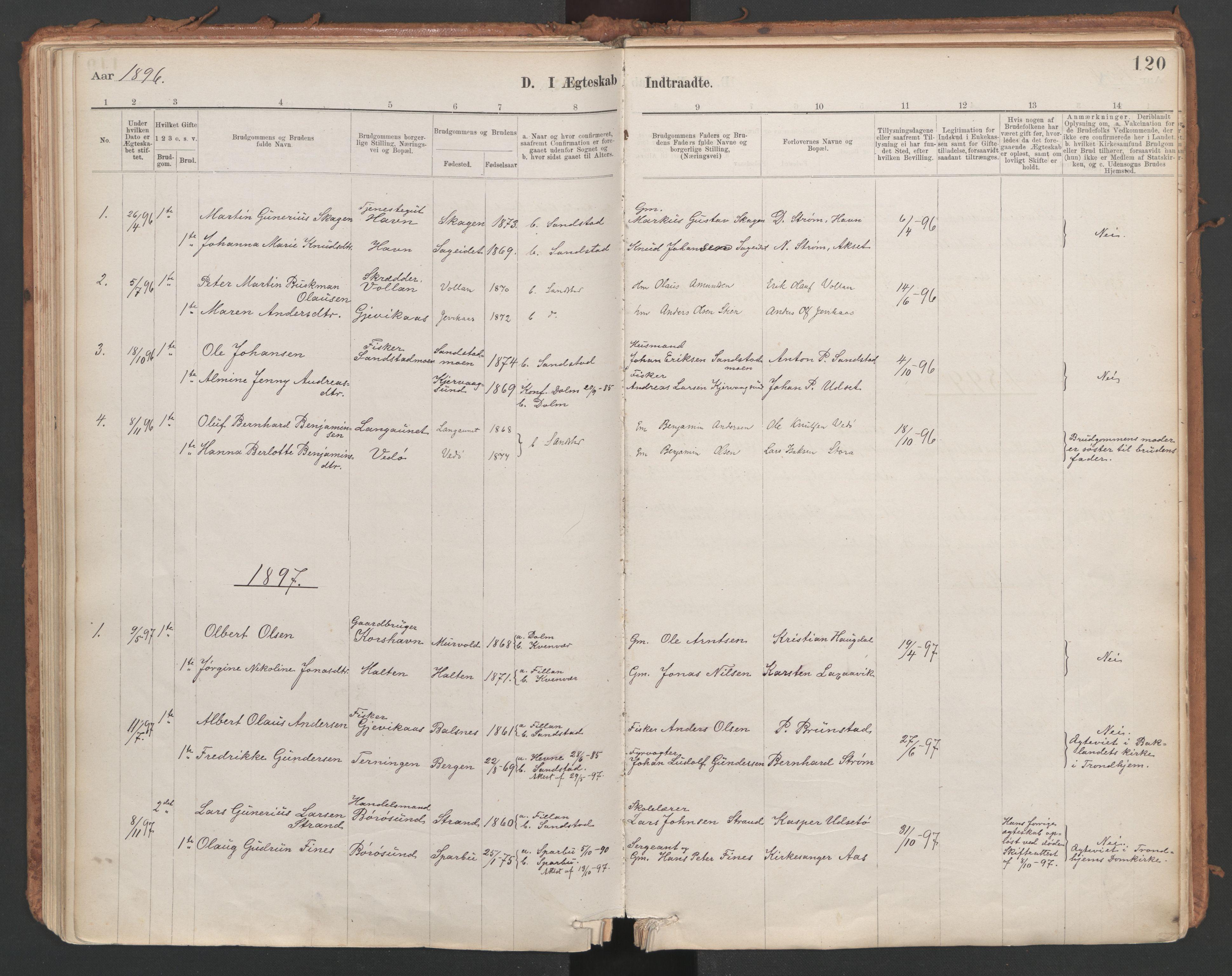 SAT, Ministerialprotokoller, klokkerbøker og fødselsregistre - Sør-Trøndelag, 639/L0572: Ministerialbok nr. 639A01, 1890-1920, s. 120