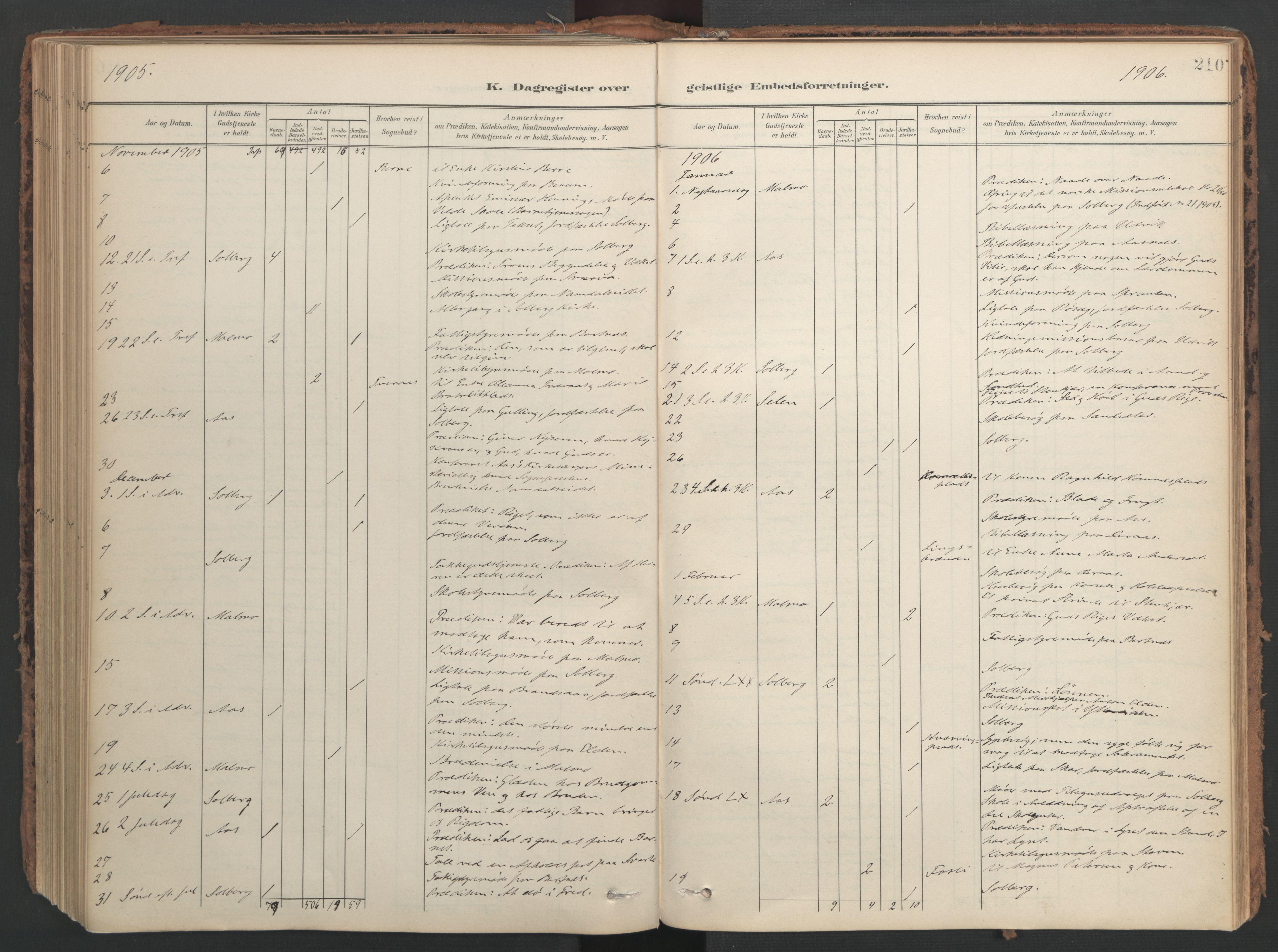 SAT, Ministerialprotokoller, klokkerbøker og fødselsregistre - Nord-Trøndelag, 741/L0397: Ministerialbok nr. 741A11, 1901-1911, s. 210
