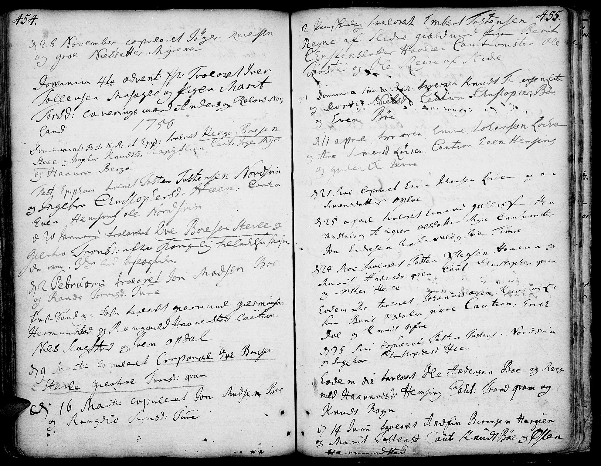 SAH, Vang prestekontor, Valdres, Ministerialbok nr. 1, 1730-1796, s. 454-455
