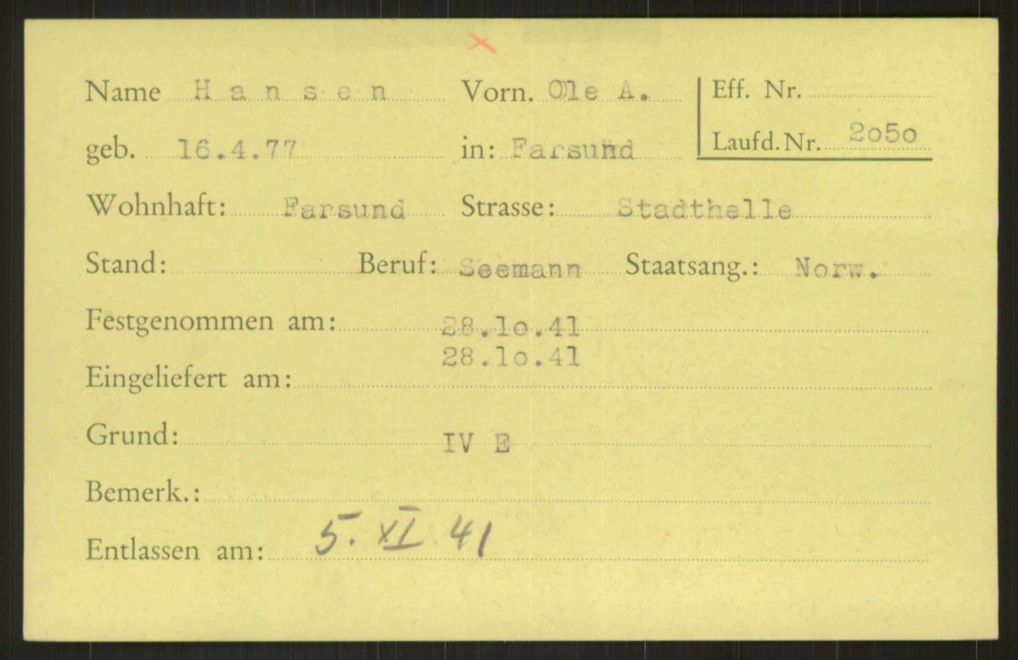 RA, Befehlshaber der Sicherheitspolizei und des SD, E/Ea/Eab/L0002: Register over norske fanger i Møllergata 19 ordnet etter fangenummer: 2050-2999, 1940-1945