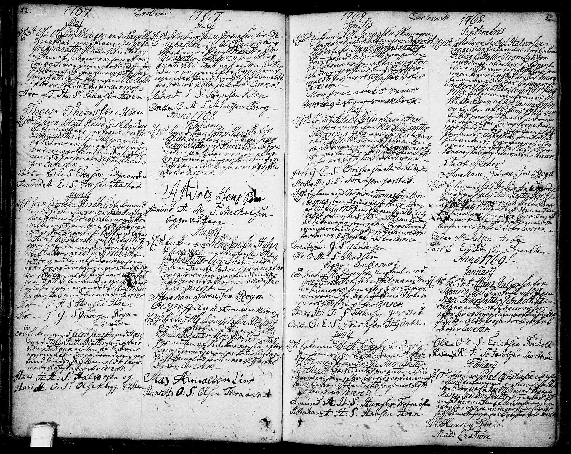 SAKO, Bamble kirkebøker, F/Fa/L0001: Ministerialbok nr. I 1, 1702-1774, s. 52-53