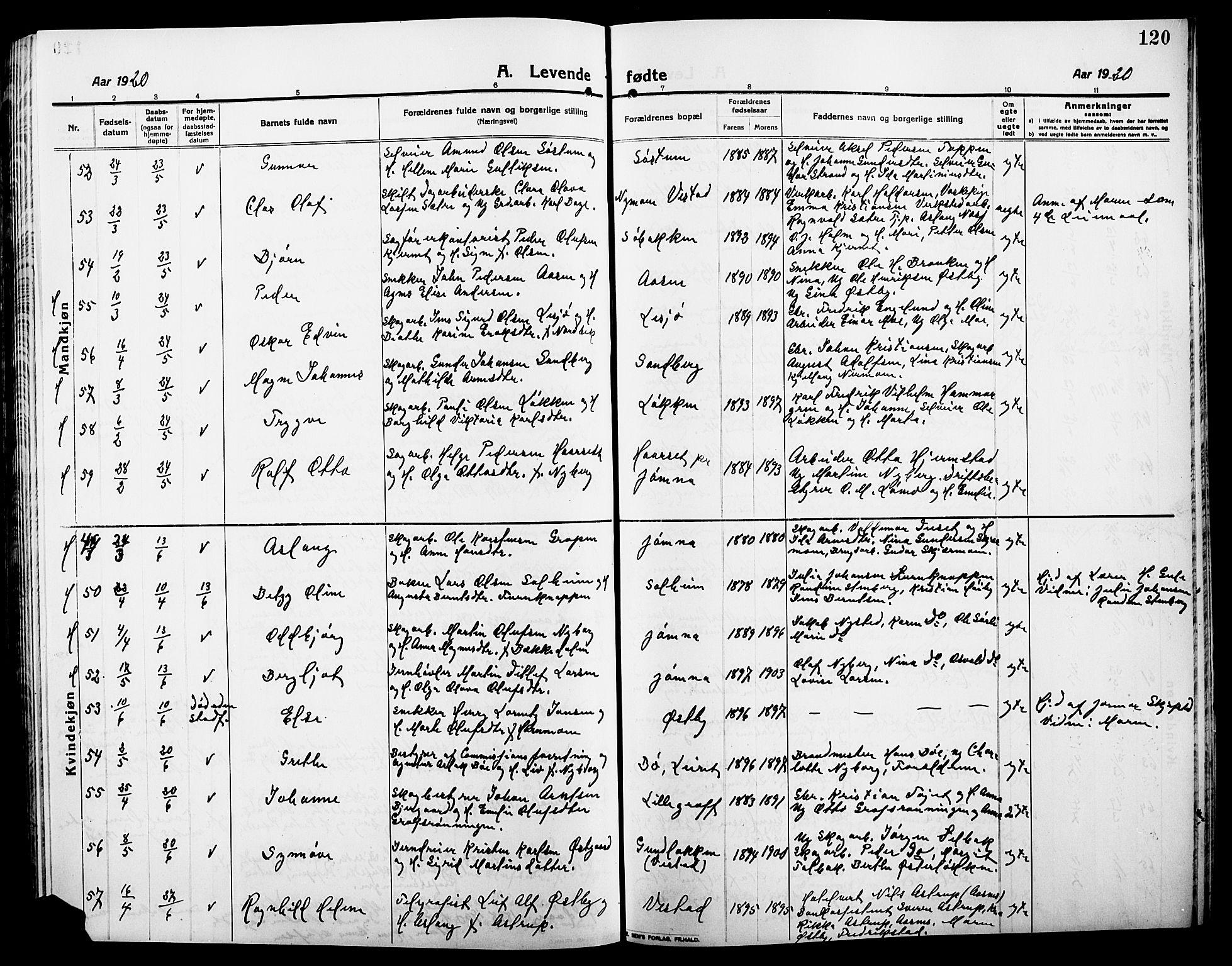 SAH, Elverum prestekontor, H/Ha/Hab/L0010: Klokkerbok nr. 10, 1912-1922, s. 120