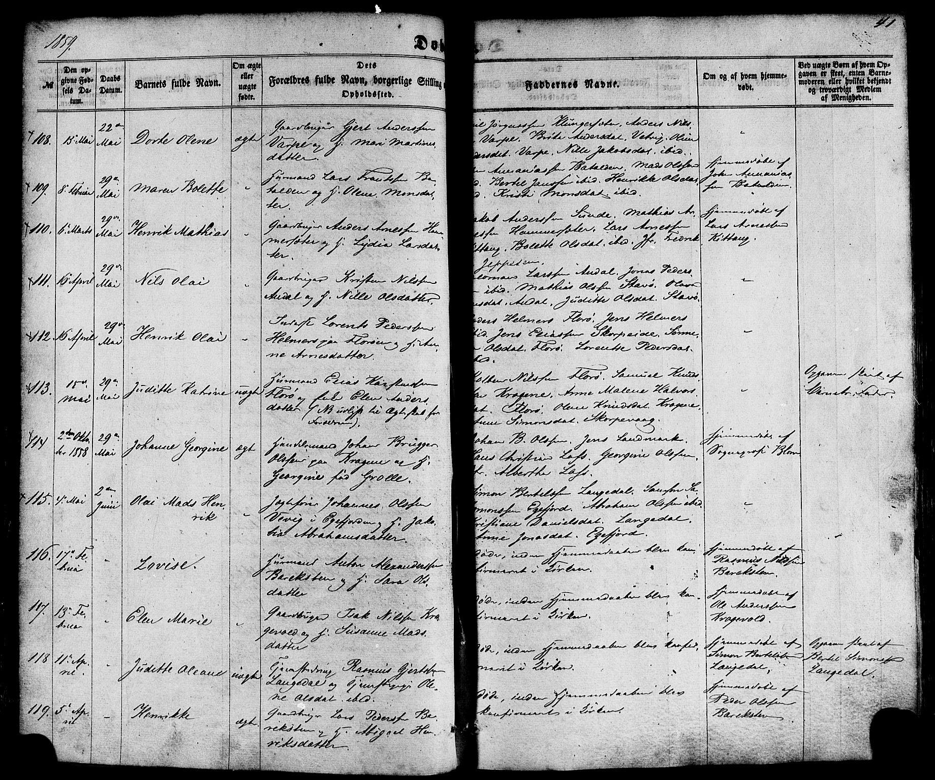 SAB, Kinn Sokneprestembete, Ministerialbok nr. A 6, 1857-1885, s. 41