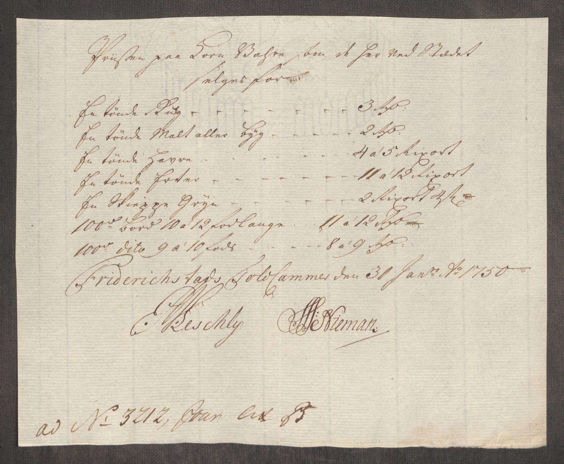 RA, Rentekammeret inntil 1814, Realistisk ordnet avdeling, Oe/L0004: [Ø1]: Priskuranter, 1749-1752, s. 222