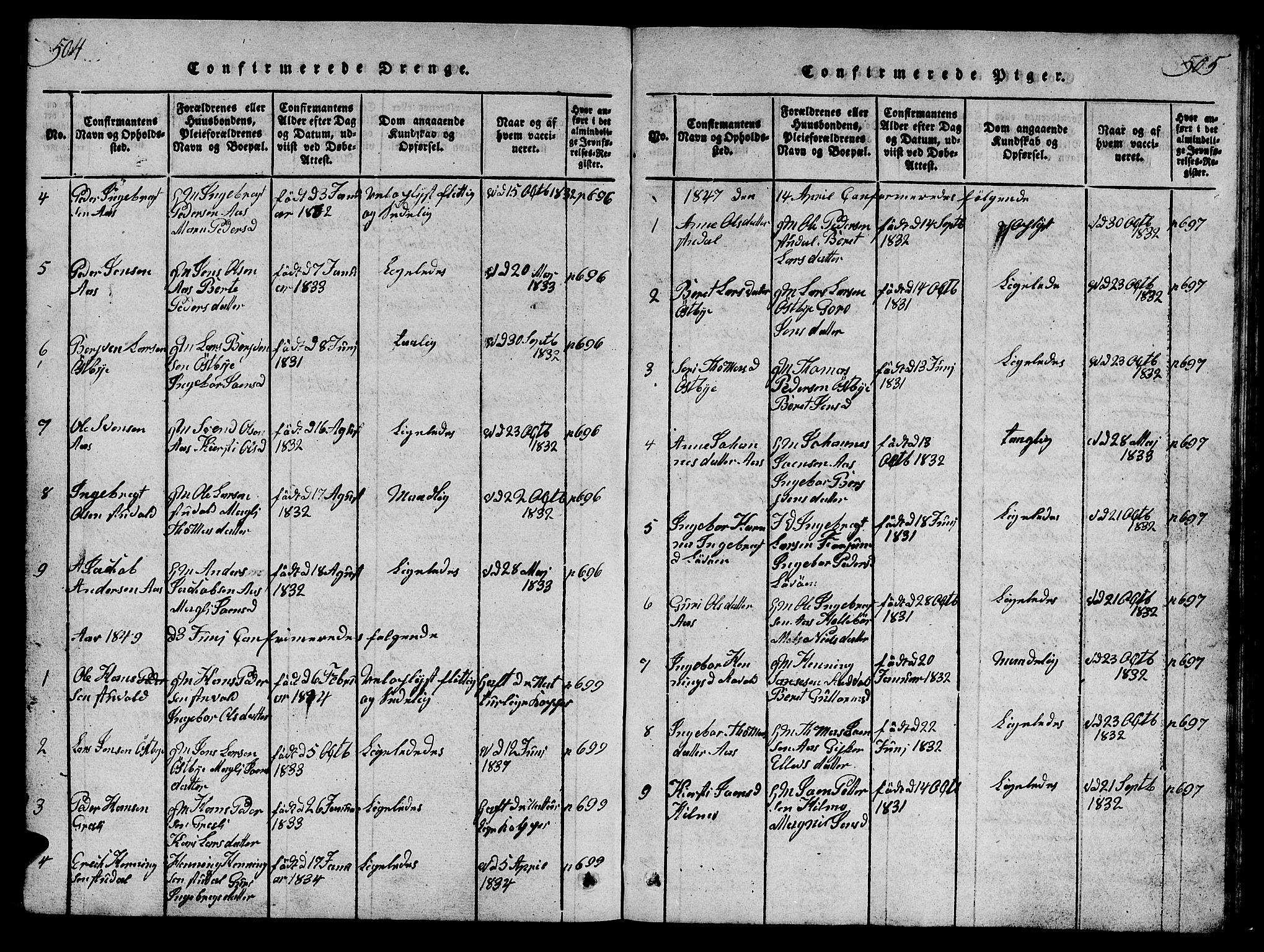SAT, Ministerialprotokoller, klokkerbøker og fødselsregistre - Sør-Trøndelag, 698/L1164: Klokkerbok nr. 698C01, 1816-1861, s. 504-505