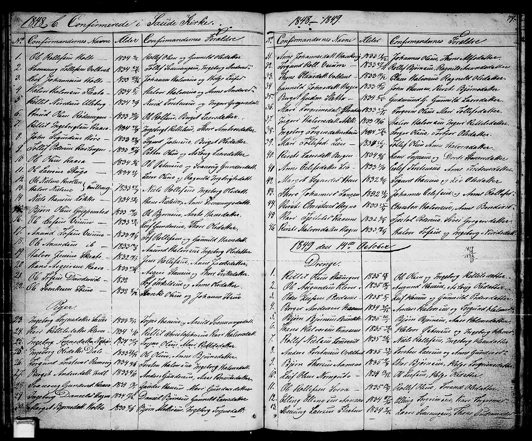 SAKO, Sauherad kirkebøker, G/Ga/L0002: Klokkerbok nr. I 2, 1842-1866, s. 79