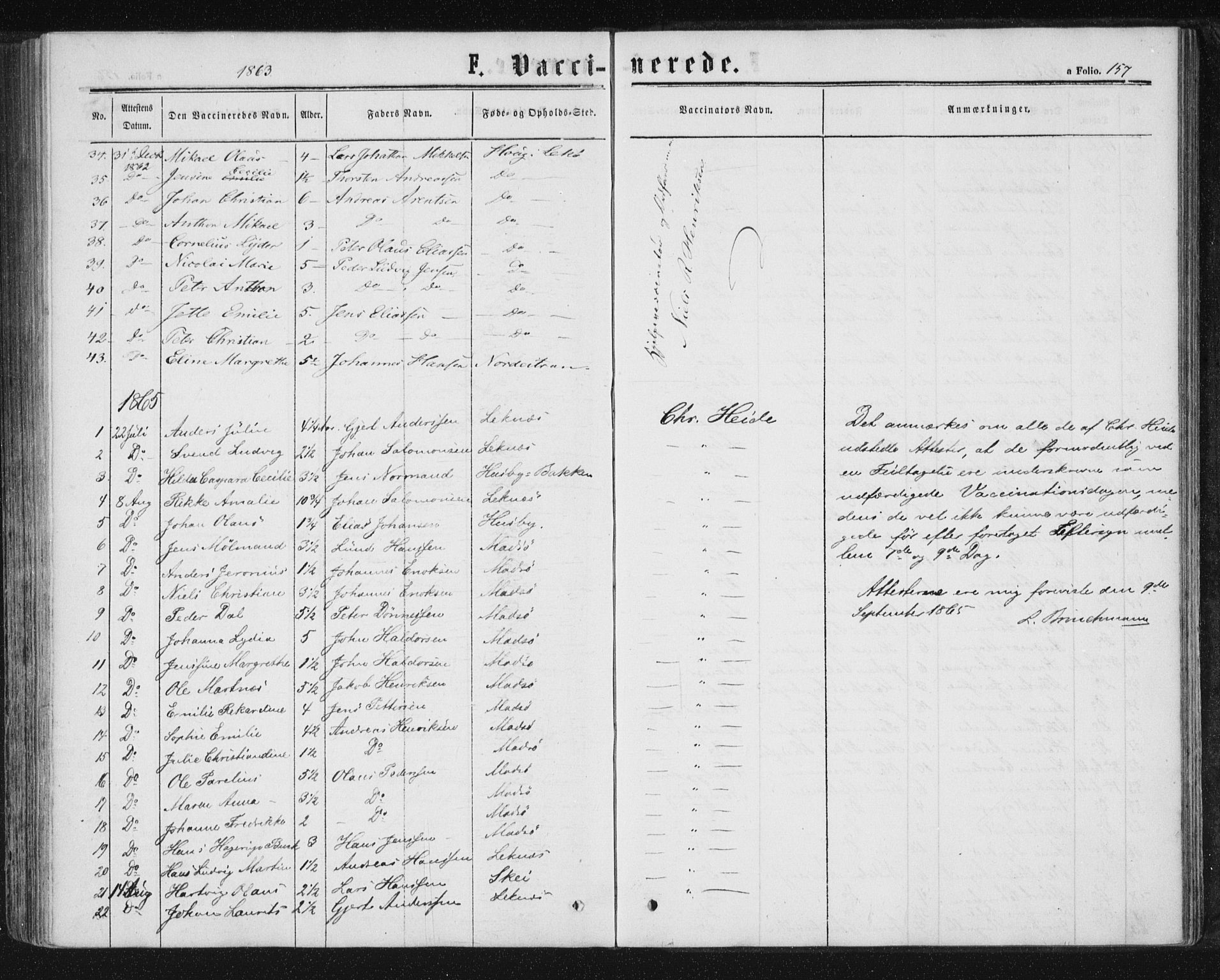 SAT, Ministerialprotokoller, klokkerbøker og fødselsregistre - Nord-Trøndelag, 788/L0696: Ministerialbok nr. 788A03, 1863-1877, s. 157