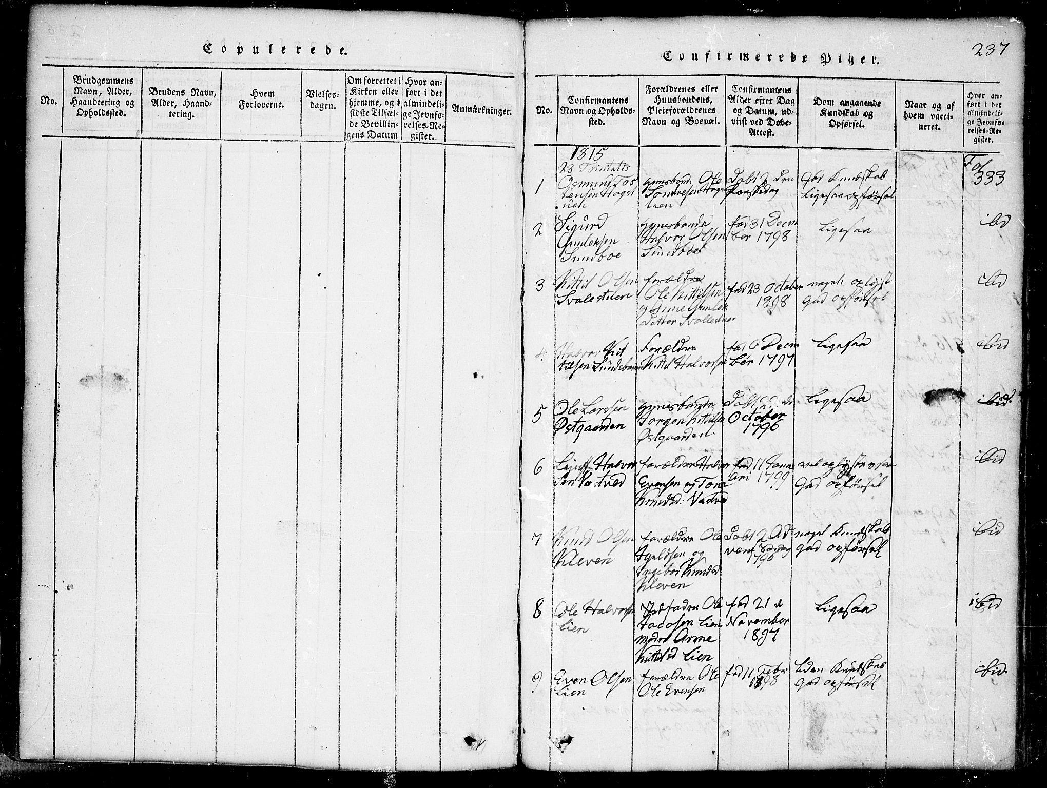 SAKO, Seljord kirkebøker, G/Gb/L0002: Klokkerbok nr. II 2, 1815-1854, s. 237