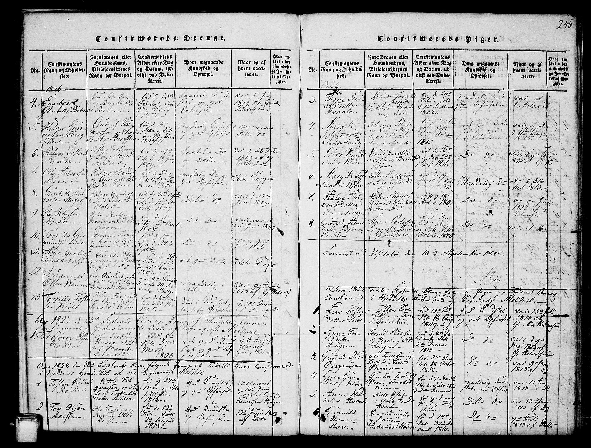 SAKO, Hjartdal kirkebøker, G/Gc/L0001: Klokkerbok nr. III 1, 1815-1842, s. 246