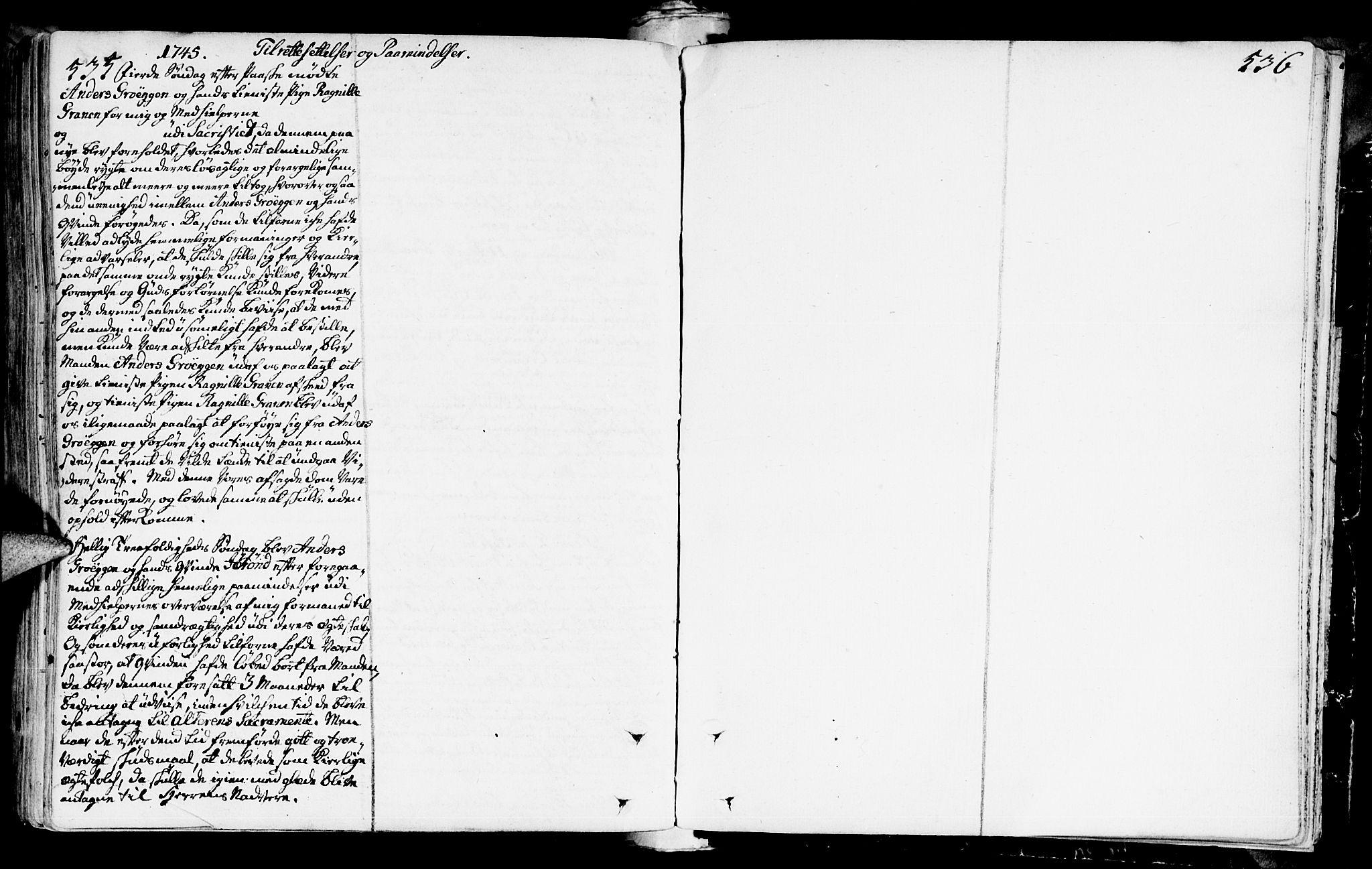 SAT, Ministerialprotokoller, klokkerbøker og fødselsregistre - Sør-Trøndelag, 672/L0850: Ministerialbok nr. 672A03, 1725-1751, s. 535-536