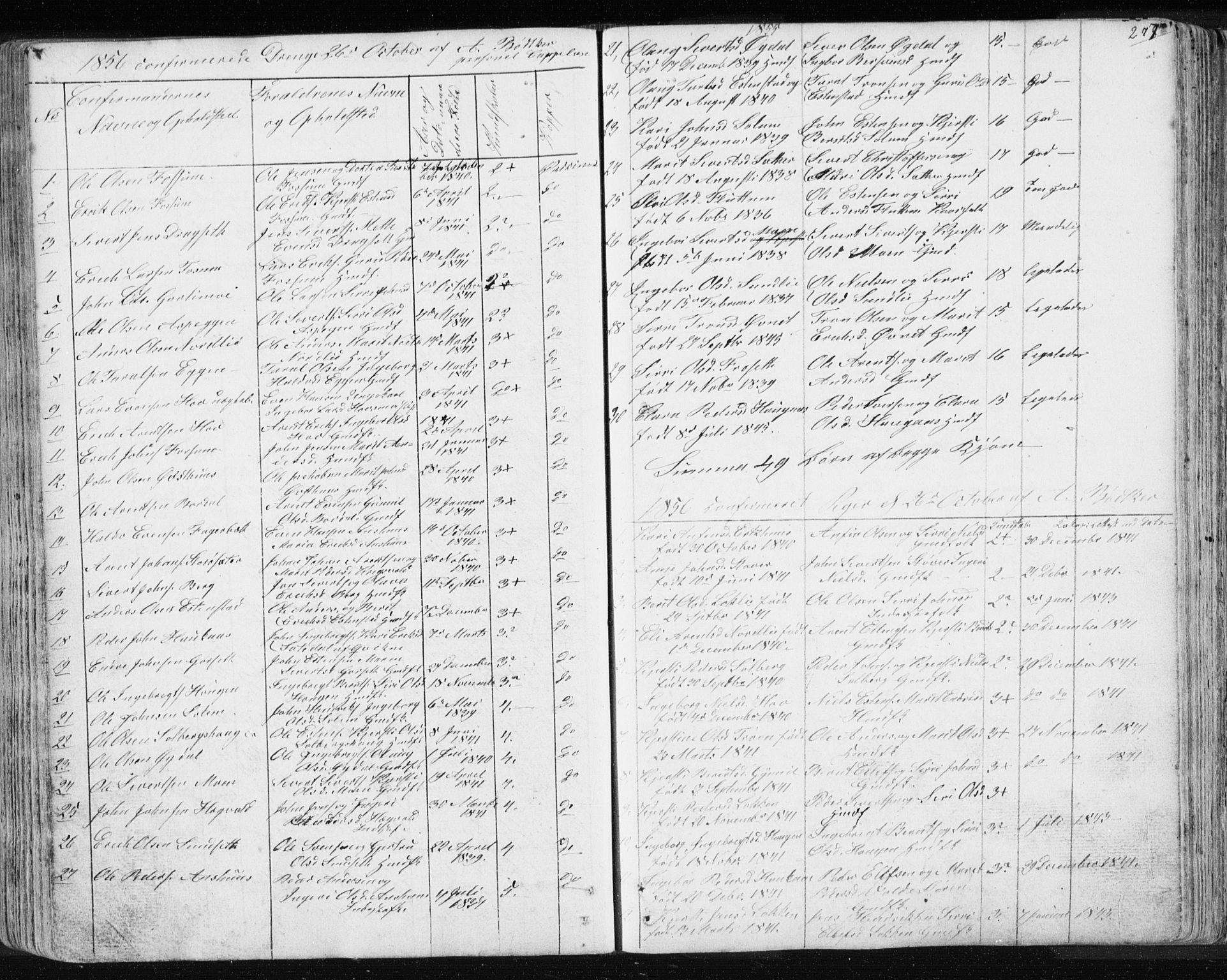 SAT, Ministerialprotokoller, klokkerbøker og fødselsregistre - Sør-Trøndelag, 689/L1043: Klokkerbok nr. 689C02, 1816-1892, s. 277