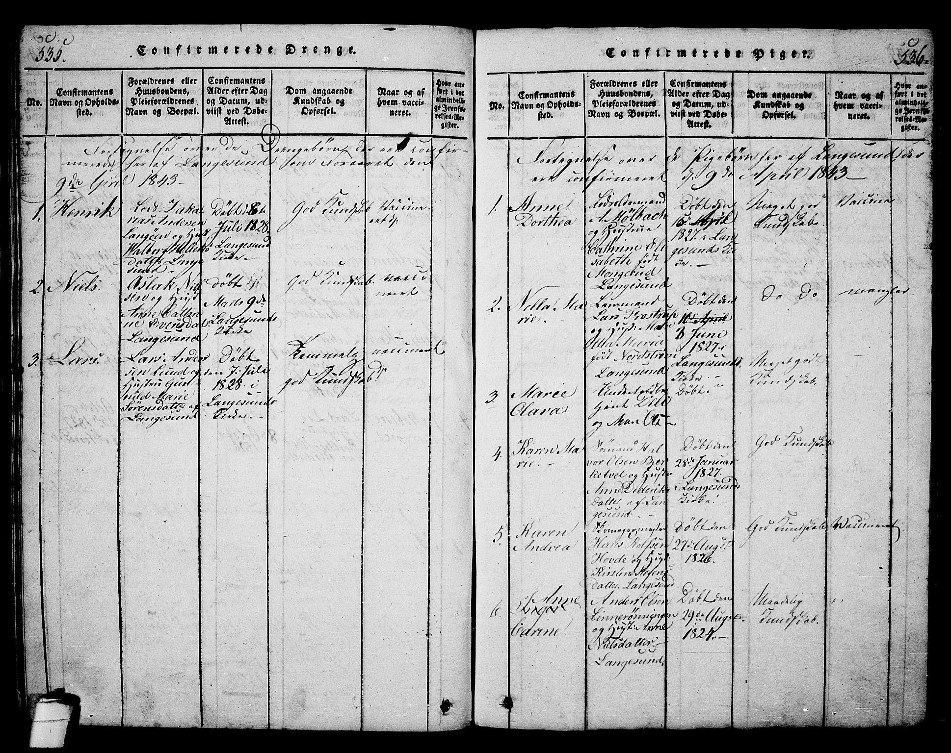 SAKO, Langesund kirkebøker, G/Ga/L0003: Klokkerbok nr. 3, 1815-1858, s. 535-536