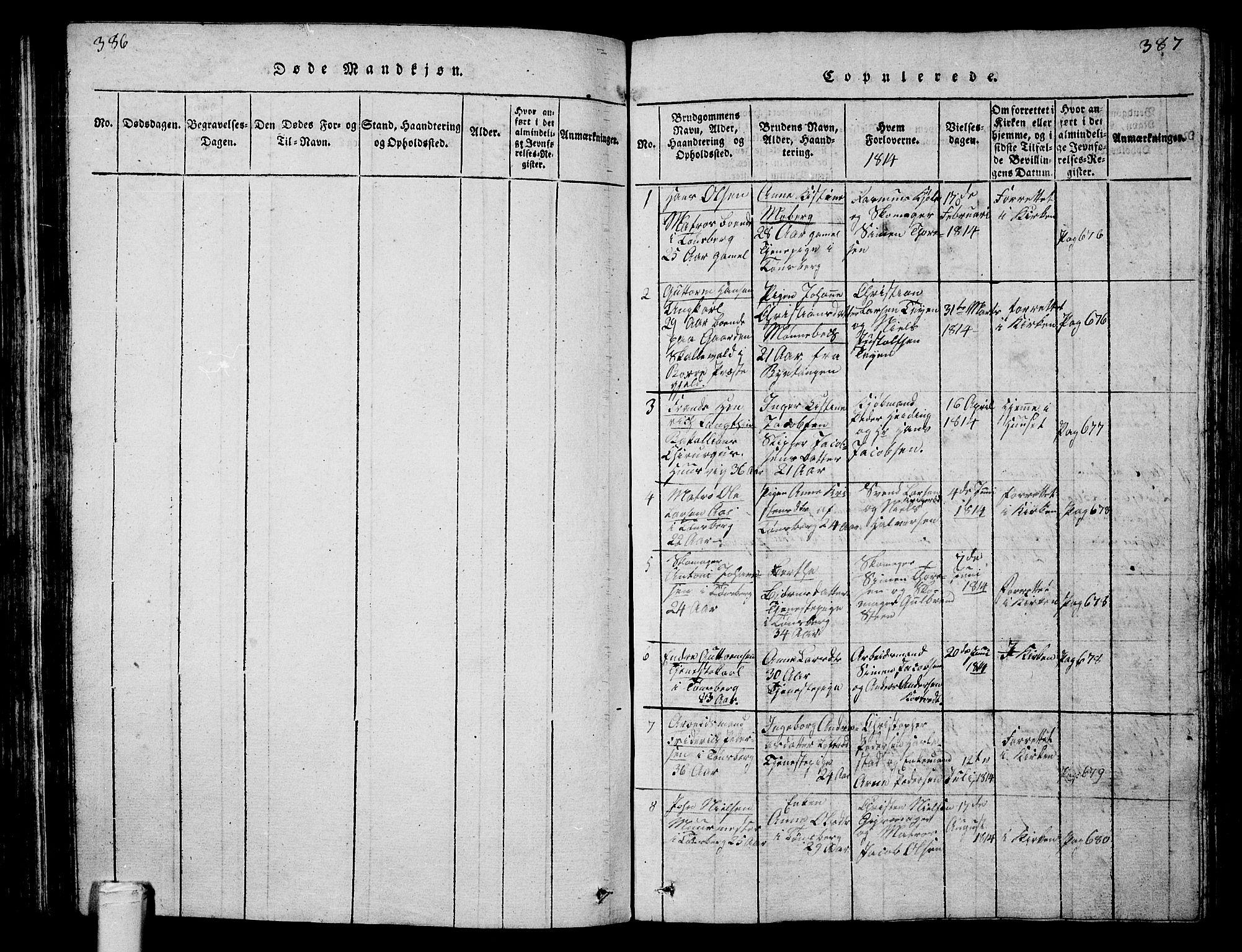 SAKO, Tønsberg kirkebøker, G/Ga/L0001: Klokkerbok nr. 1, 1813-1826, s. 386-387