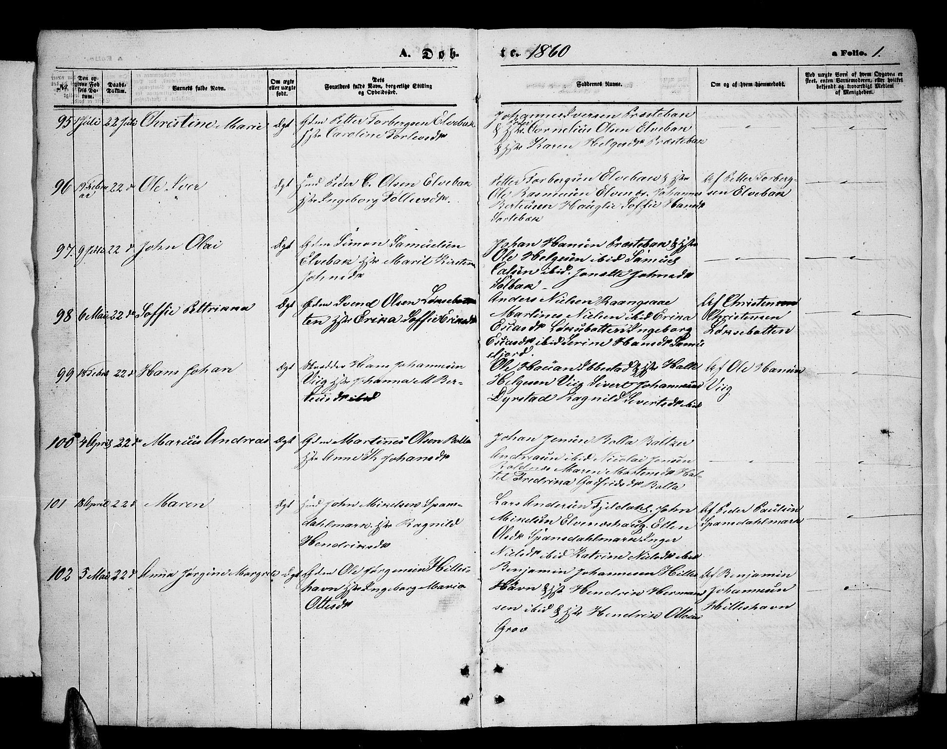 SATØ, Ibestad sokneprestembete, Klokkerbok nr. 5, 1860-1871, s. 1