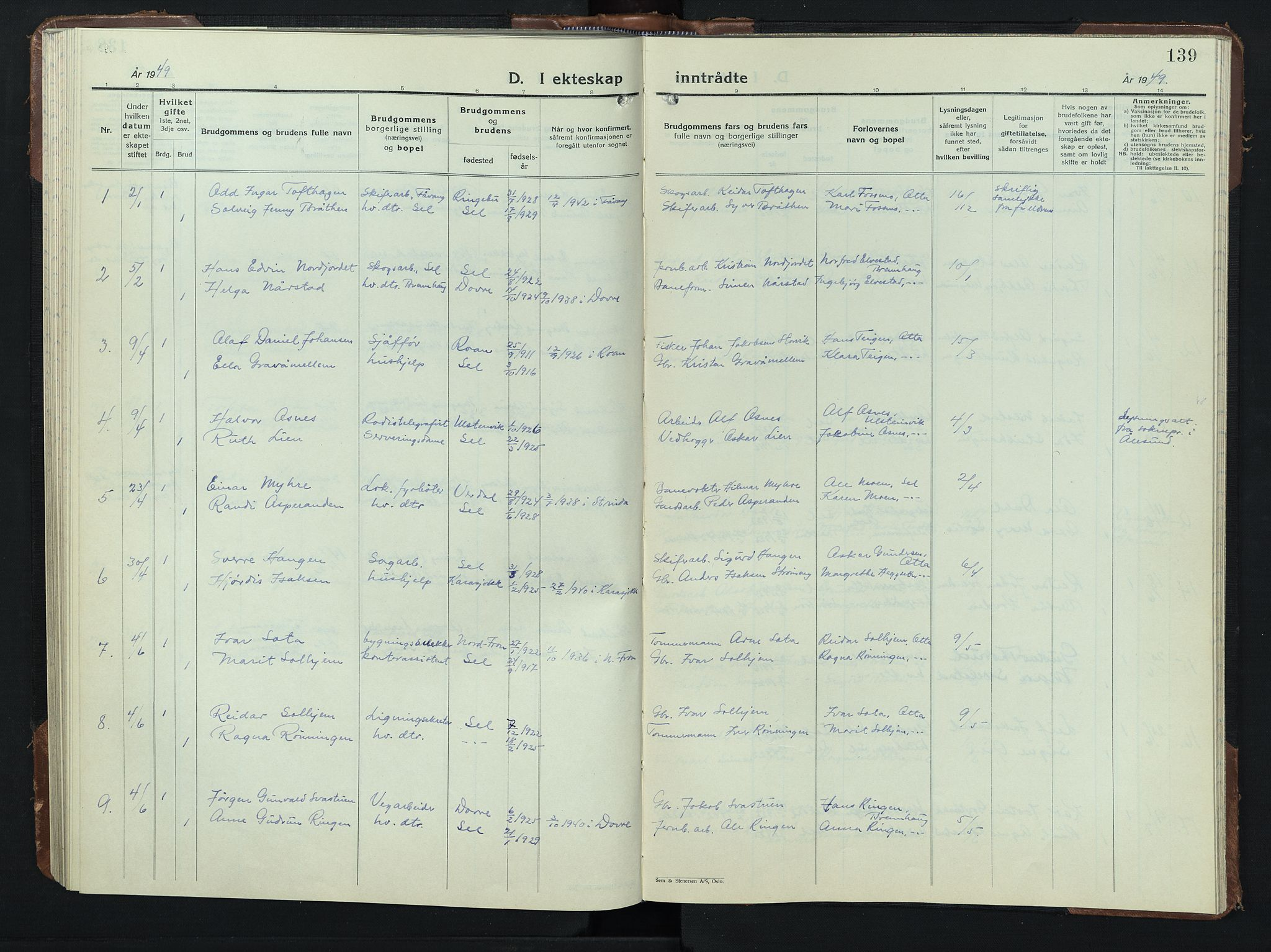 SAH, Sel prestekontor, Klokkerbok nr. 3, 1940-1951, s. 139