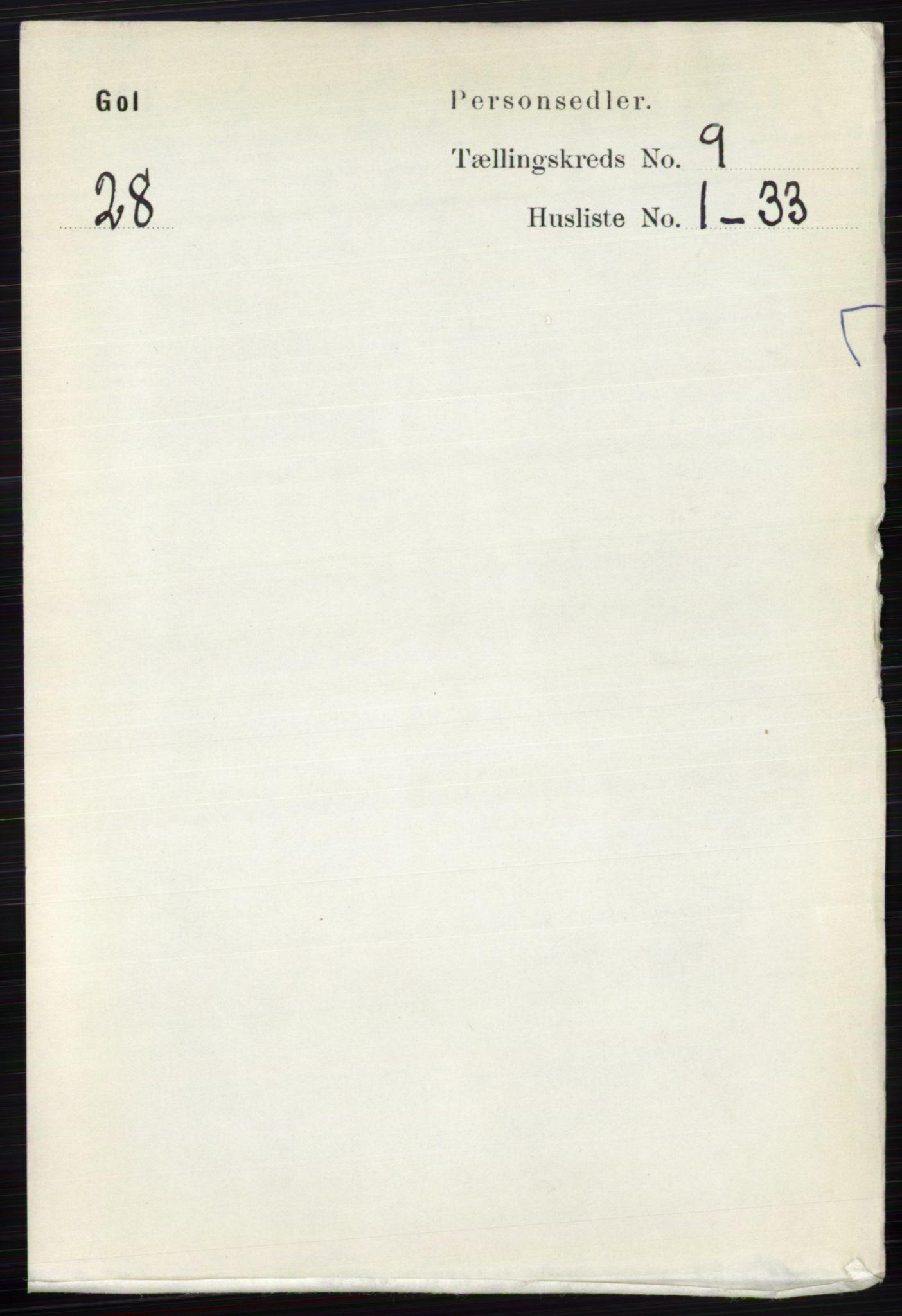 RA, Folketelling 1891 for 0617 Gol og Hemsedal herred, 1891, s. 3397