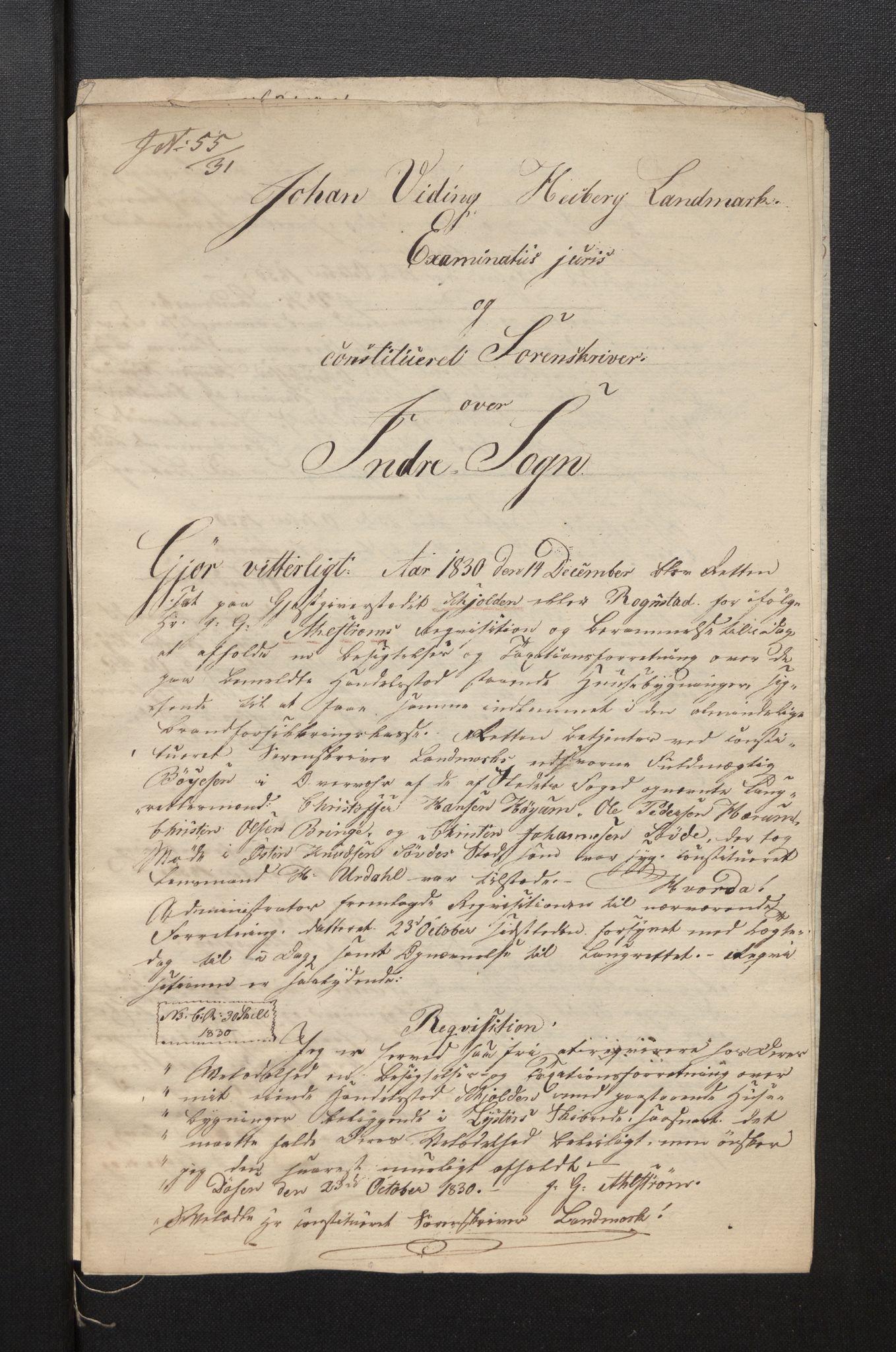 SAB, Lensmannen i Luster, 0012/L0001: Branntakstar, 1830-1845